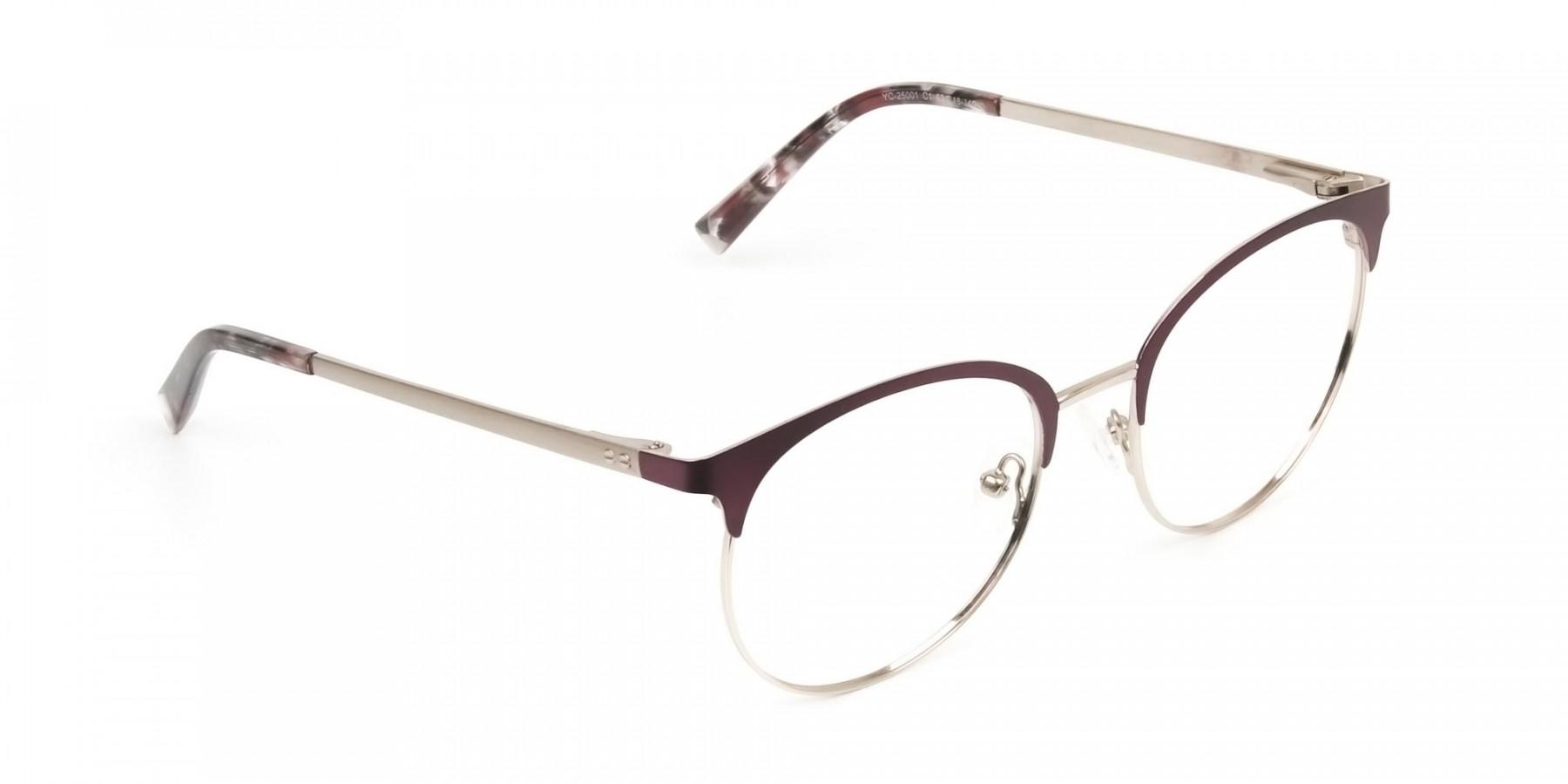 Gold Burgundy Red Clubmaster Glasses Men Women - 1