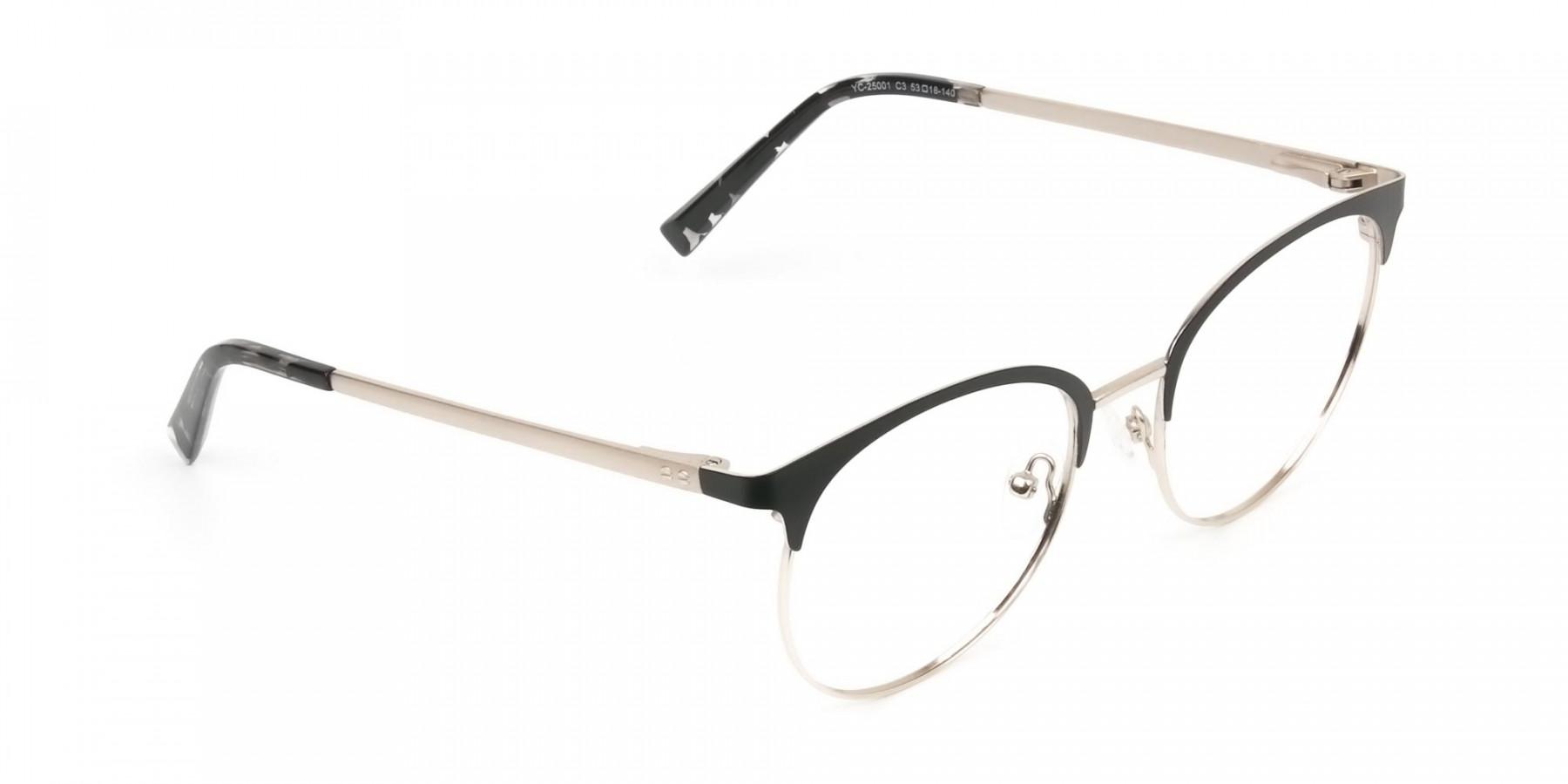 Gold Black Clubmaster Glasses in Round Men Women - 1