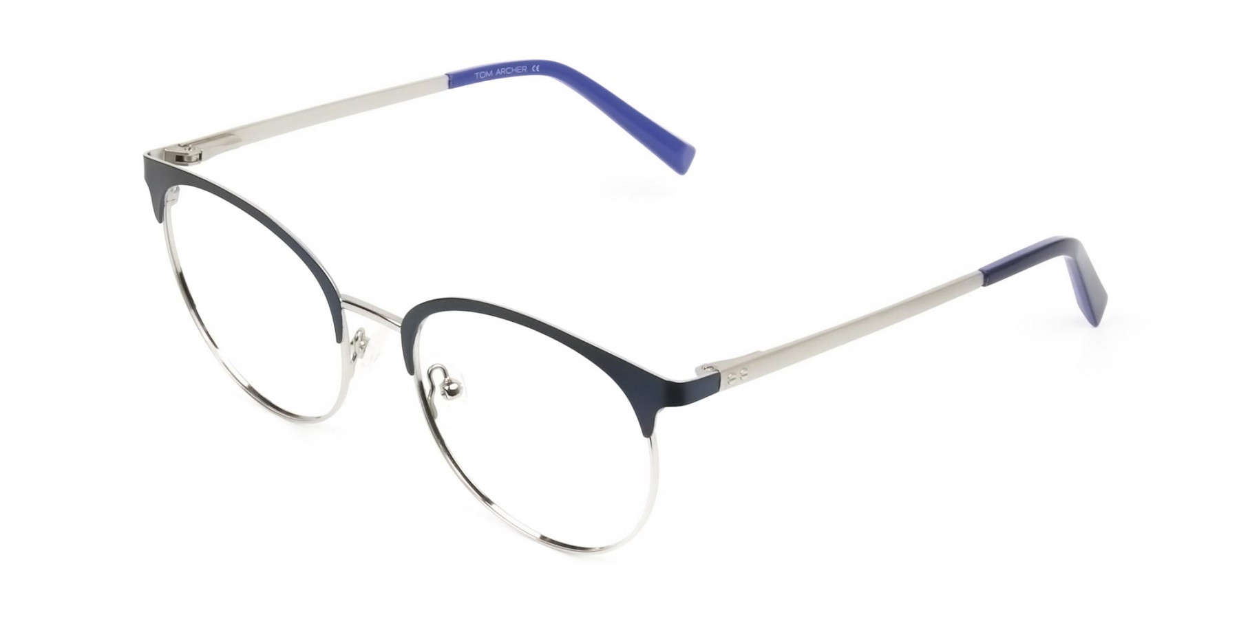 Round Navy Blue Silver Clubmaster Glasses Men Women - 1