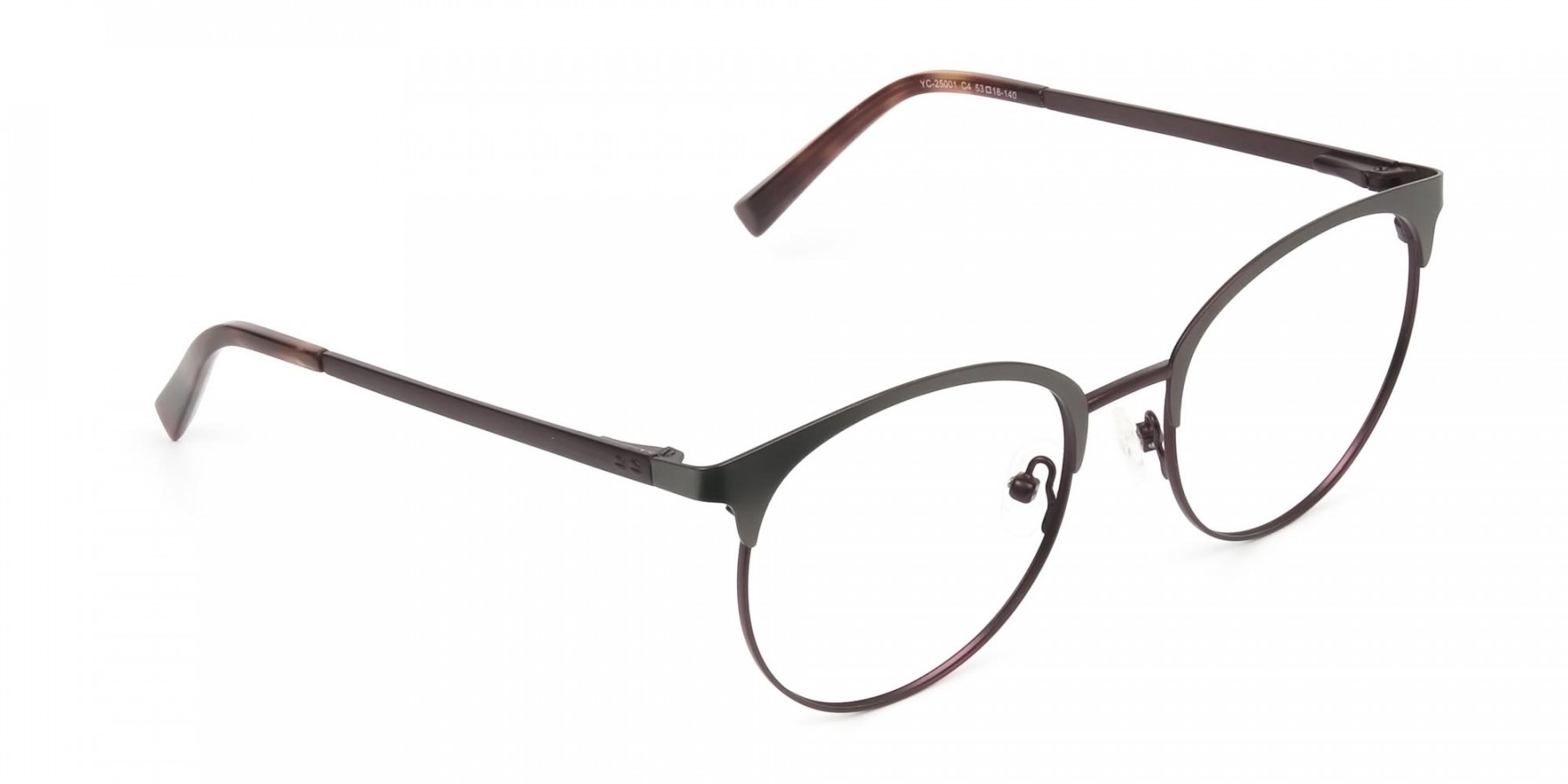 Brown & Gunmetal Clubmaster Glasses in Round - 1