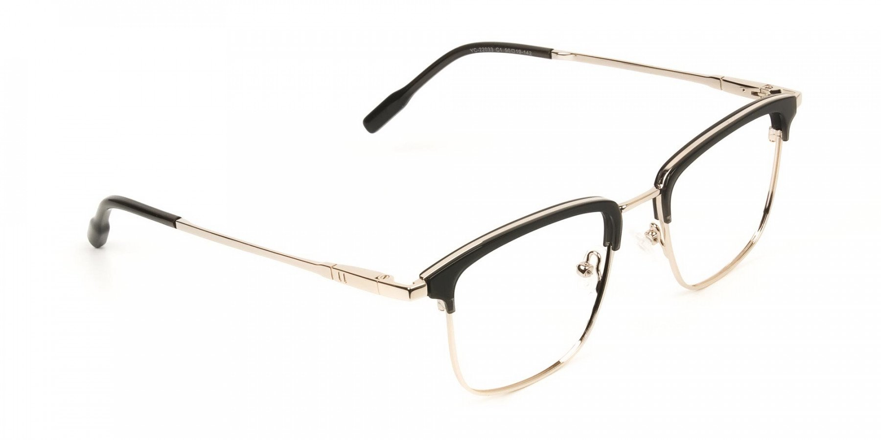Shining Black and Gold Glasses in Browline Square - 1