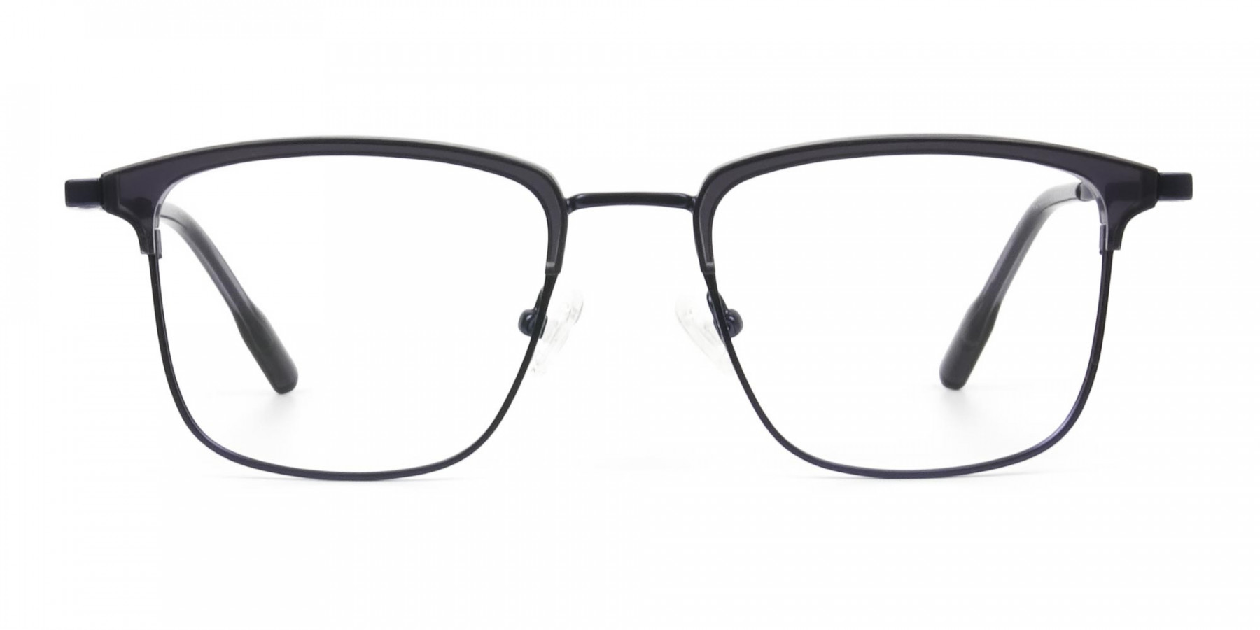 Navy Blue & Matt Black Glasses in Metal Browline & Square  - 1