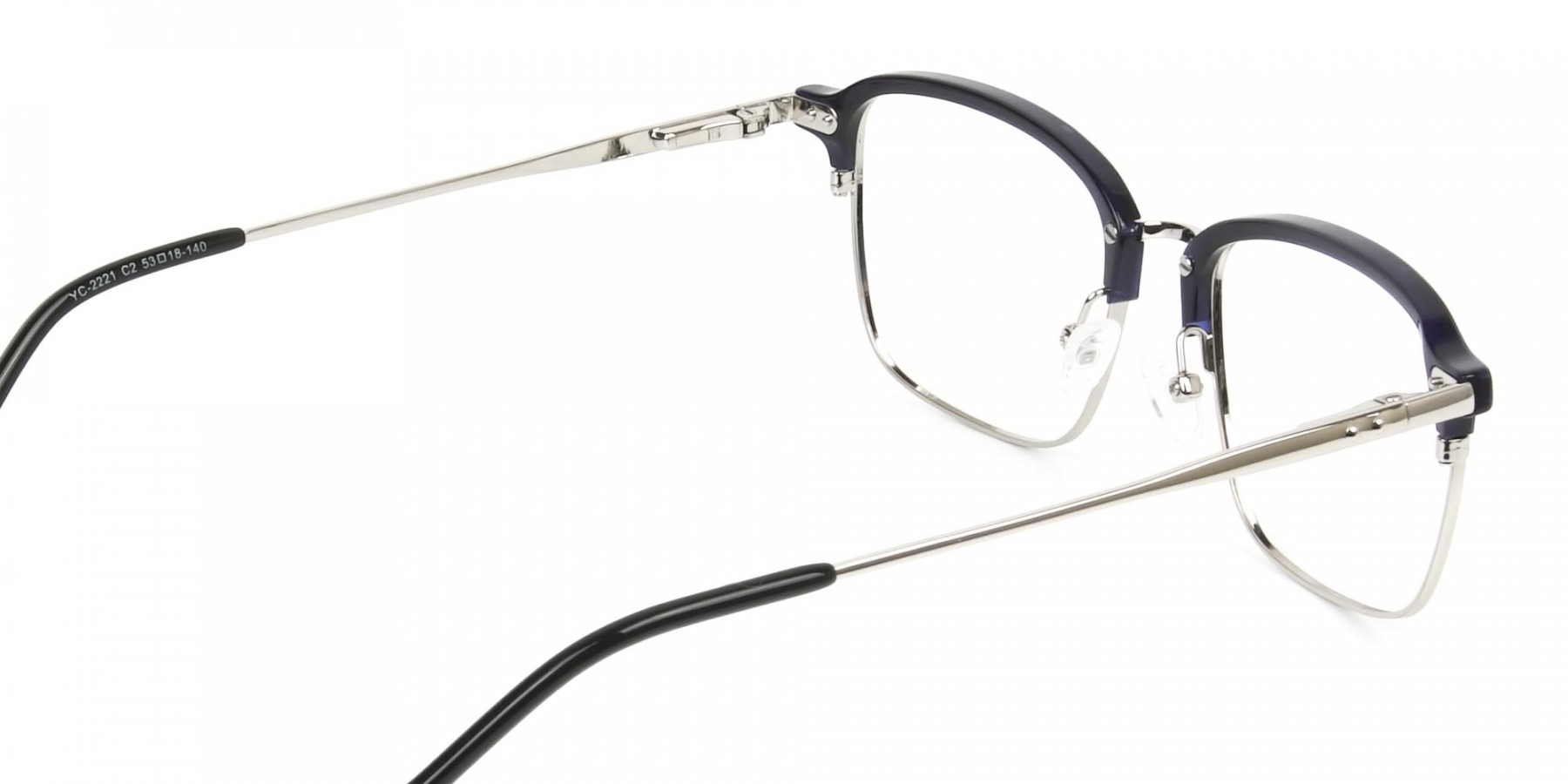 Rectangular & Browline Silver and Marble Blue Browline Glasses - 1
