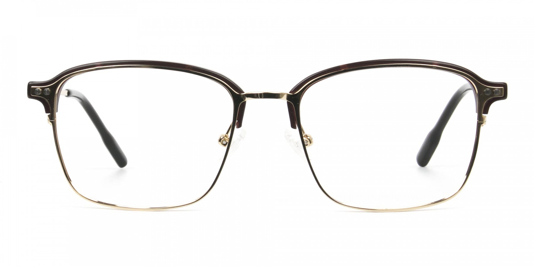 Rectangular & Browline Gold and Brown Frame Glasses - 1
