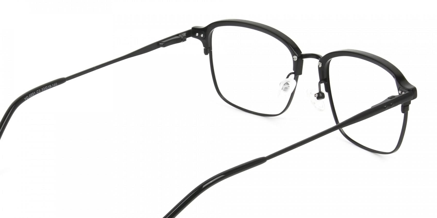 Retro Black Clubmaster Glasses in Rectangular - 1
