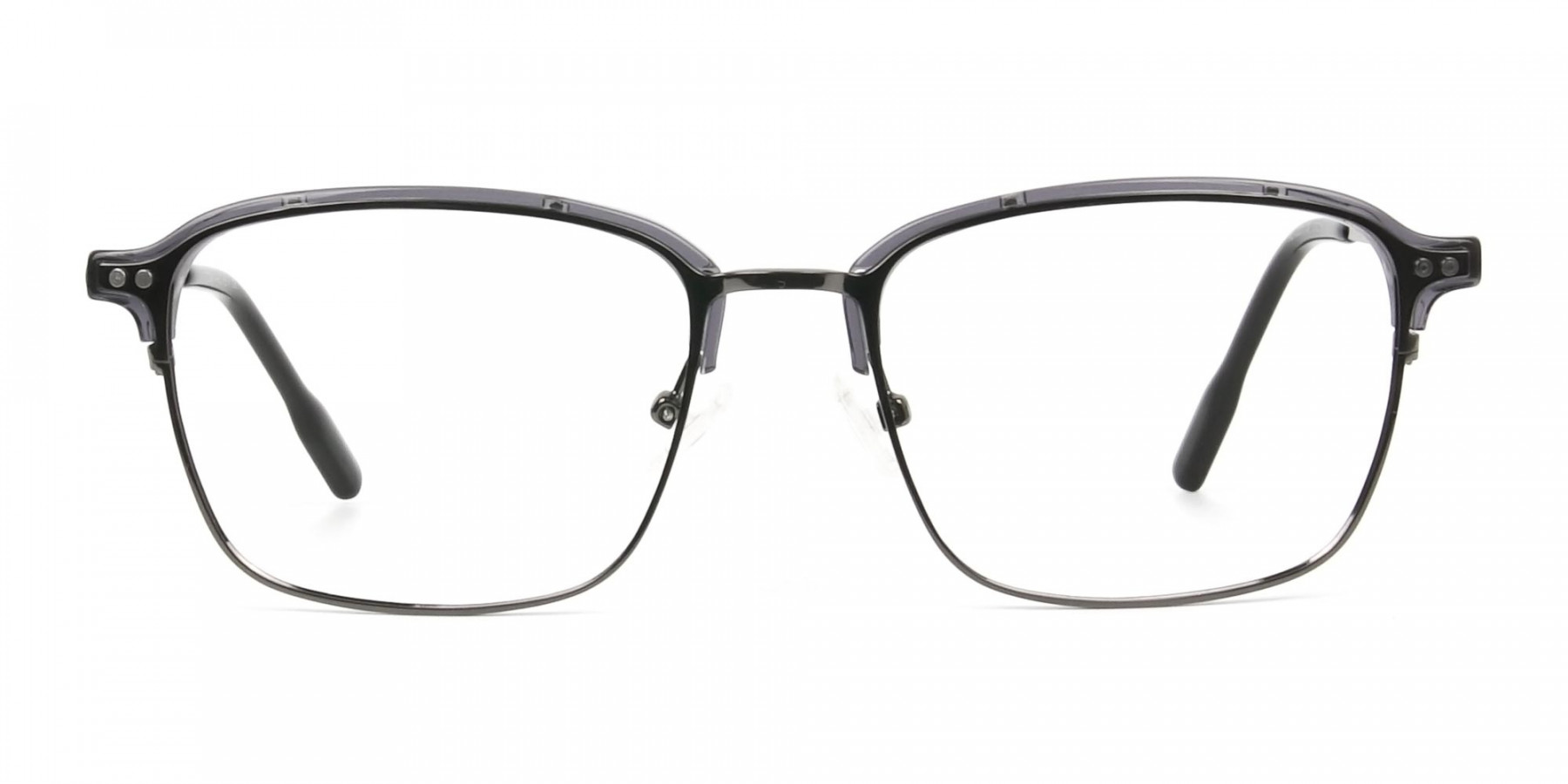 Gunmetal and Translucent Grey clubmaster glasses - 1