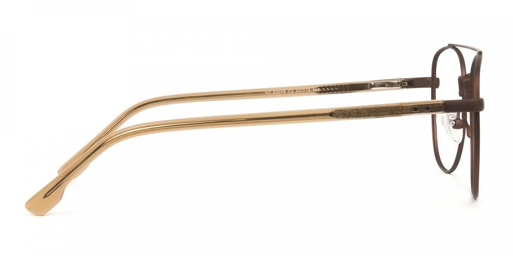 Honey Brown Aviator Wayfarer Glasses in Metal - 1