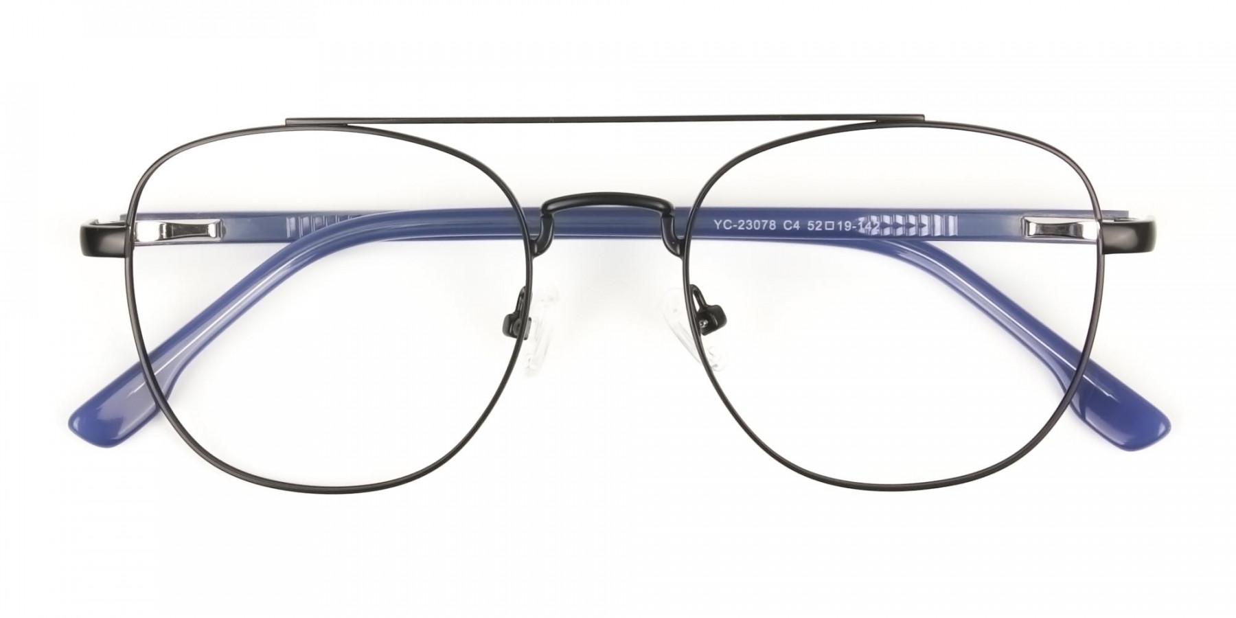 Black Aviator Wayfarer Glasses with Navy Blue Temple - 1