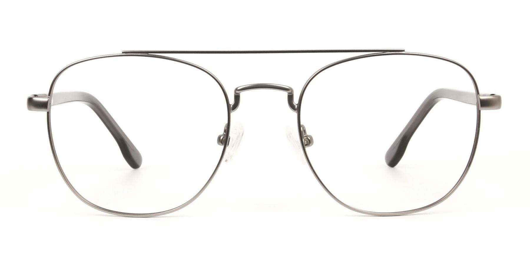 Gunmetal Dark Grey Aviator Wayfarer Glasses - 1