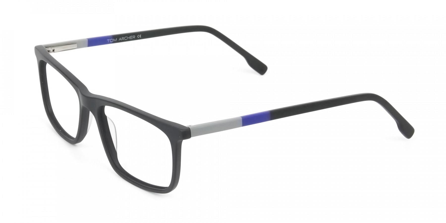 Matte Black & Blue Spectacles in Rectangular - 1