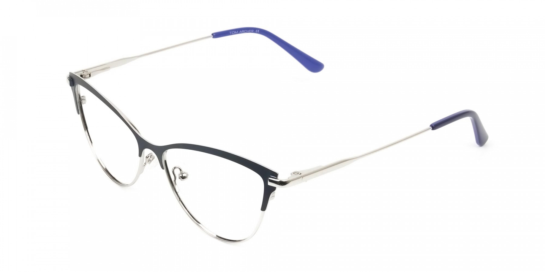 Navy Blue and Silver Metal Cat Eye Glasses - 1