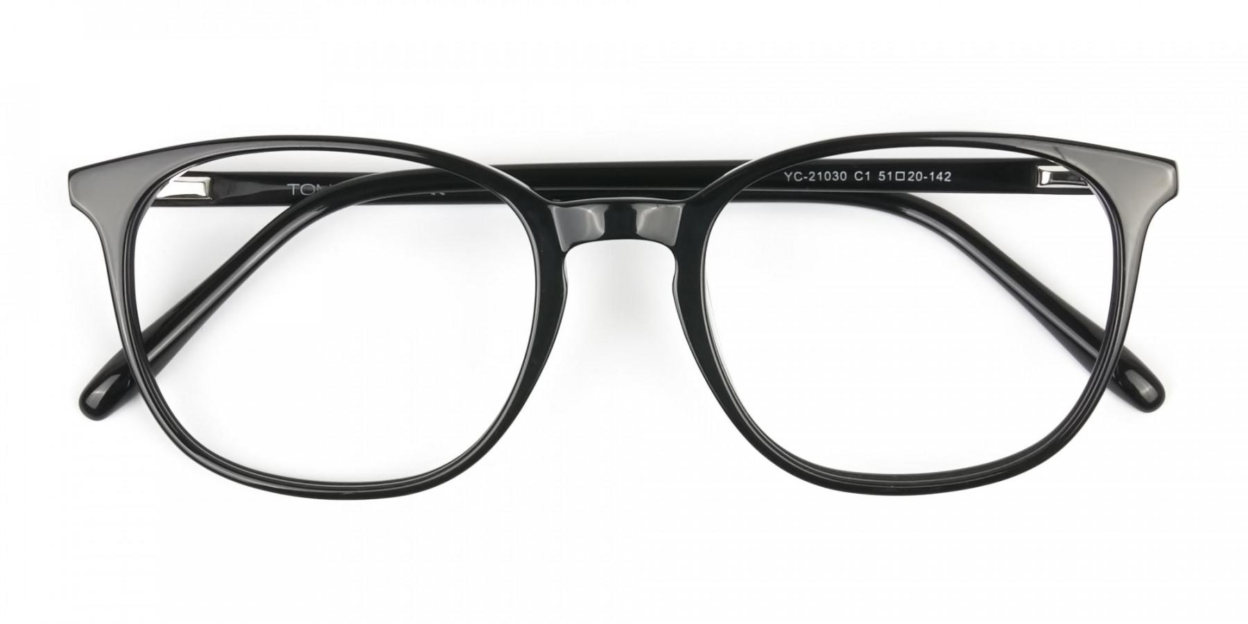 Black Wayfarer Glasses Thin Frame - 1