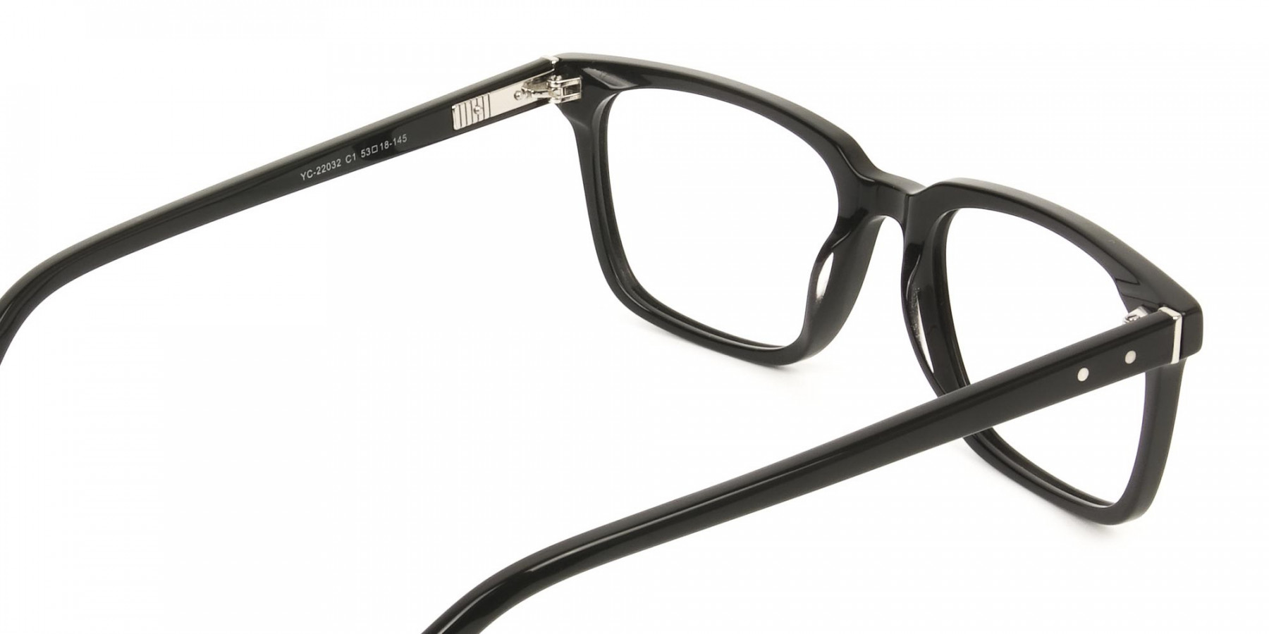 Handcrafted Black Thick Acetate Glasses in Rectangular - 1