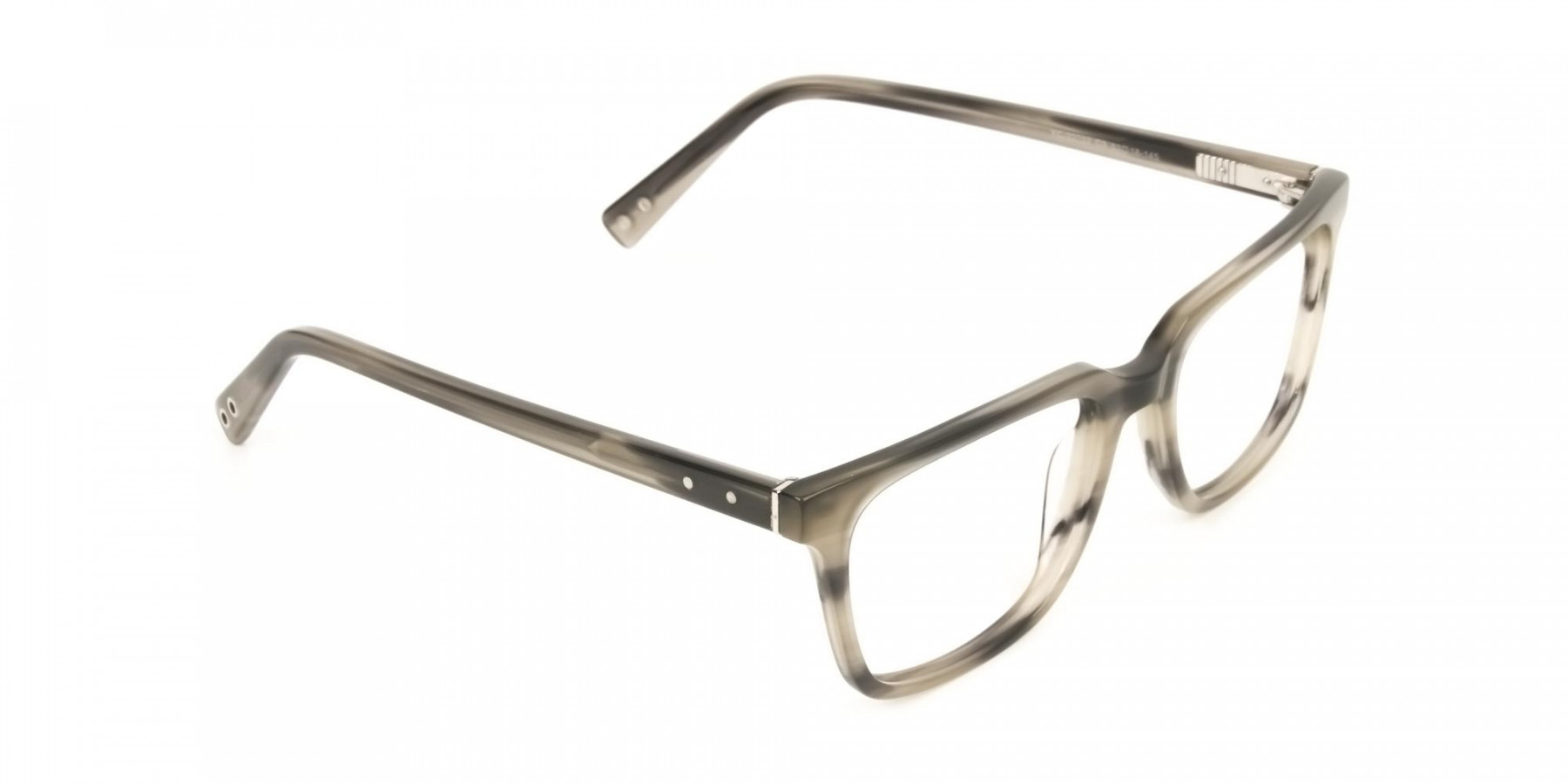 Handcrafted Marble Grey Thick Acetate Glasses in Rectangular - 1