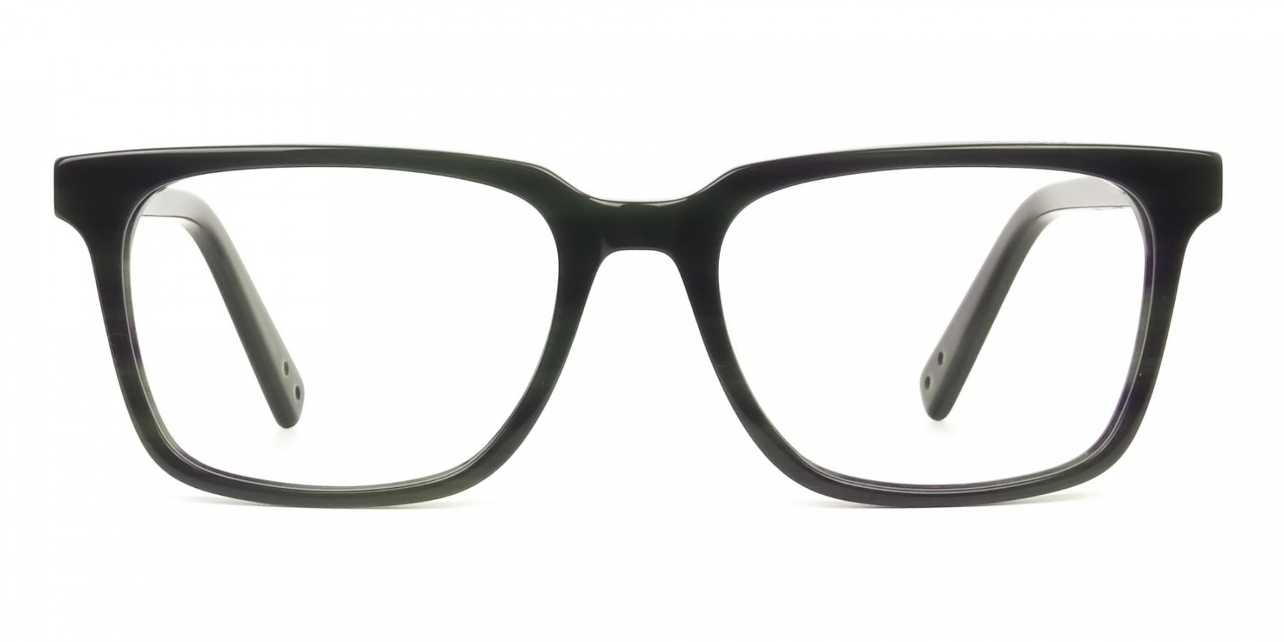 Handcrafted Dark Navy Thick Acetate Glasses in Rectangular - 1