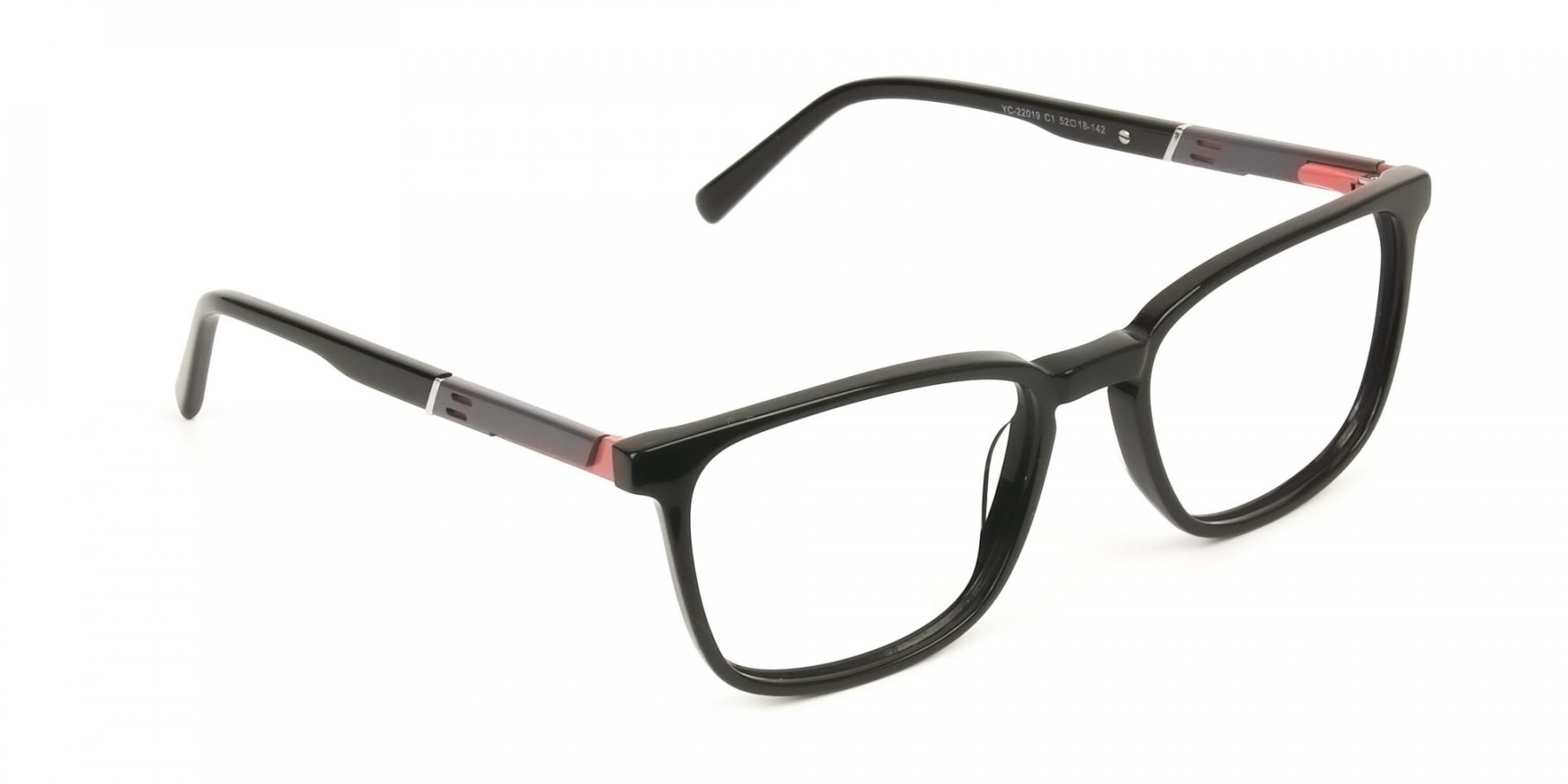 Lightweight Black Sport Style Rectangular Glasses - 1