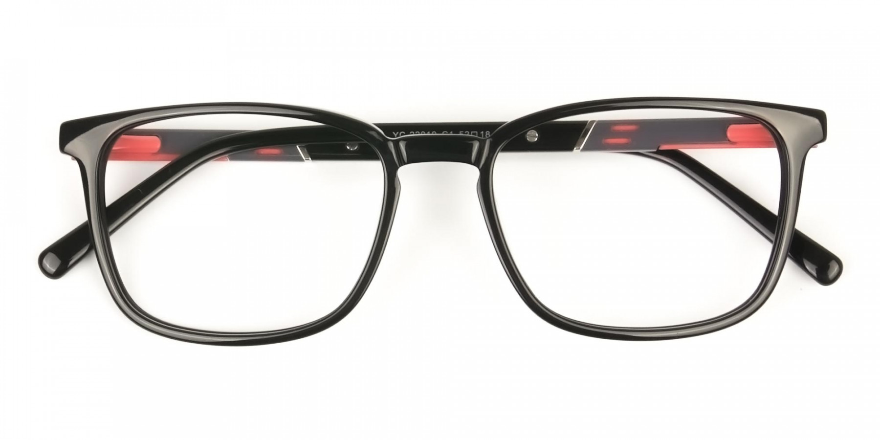 Lightweight Black Sport Style Rectangular Glasses - 1