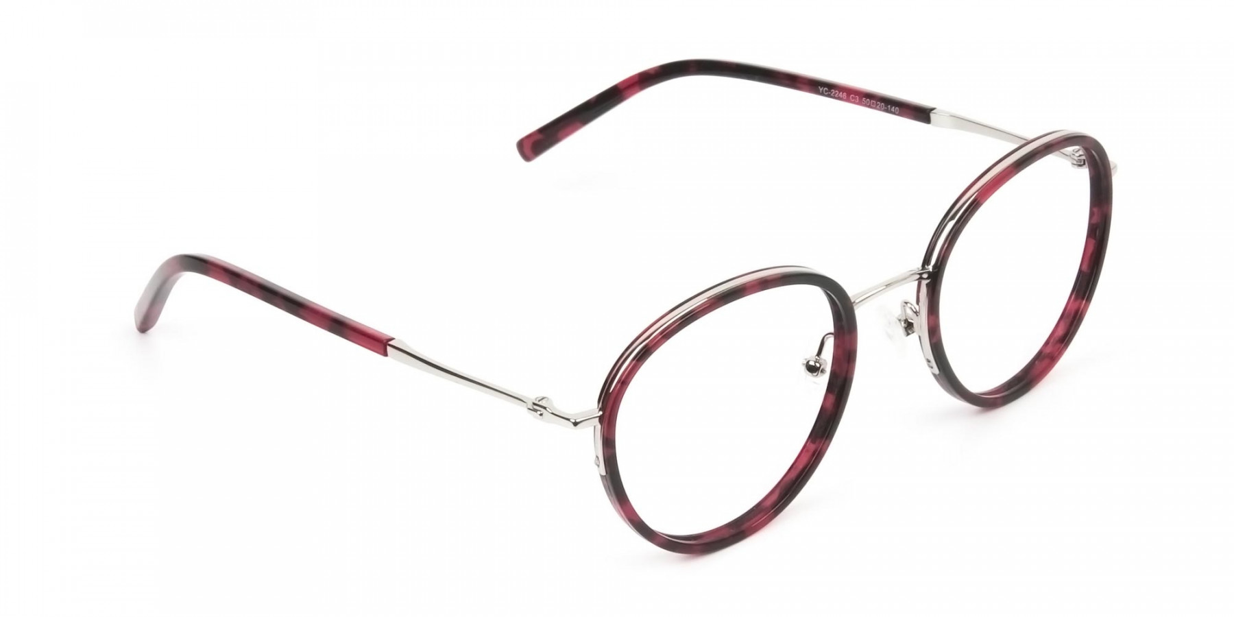 Retro Silver & Red Circular Glasses - 1