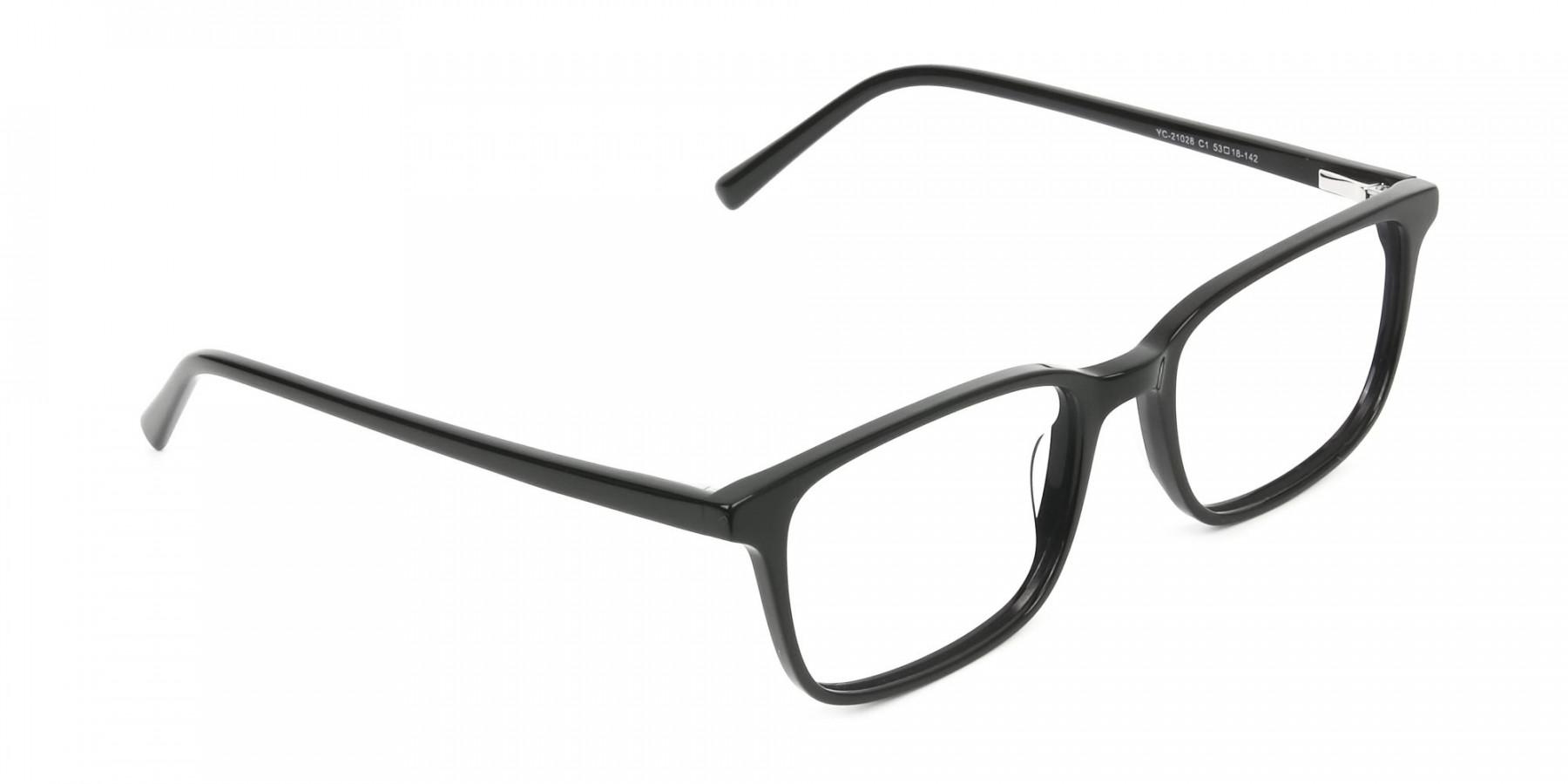Horn Rimmed Black Eyeglasses in Rectangle - 1