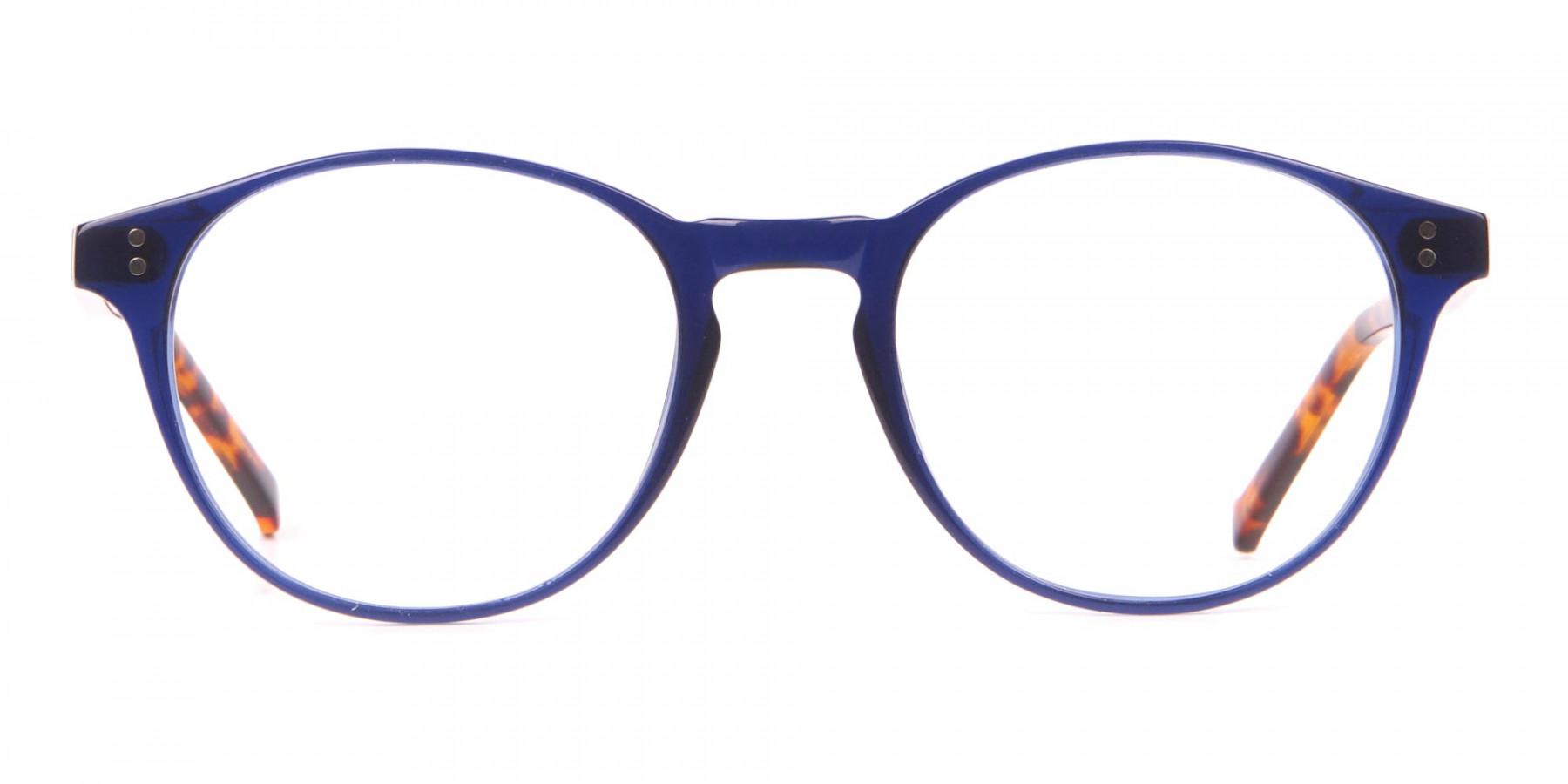 HACKETT Bespoke HEB218 Petite Round Glasses Navy & Tortoise-1
