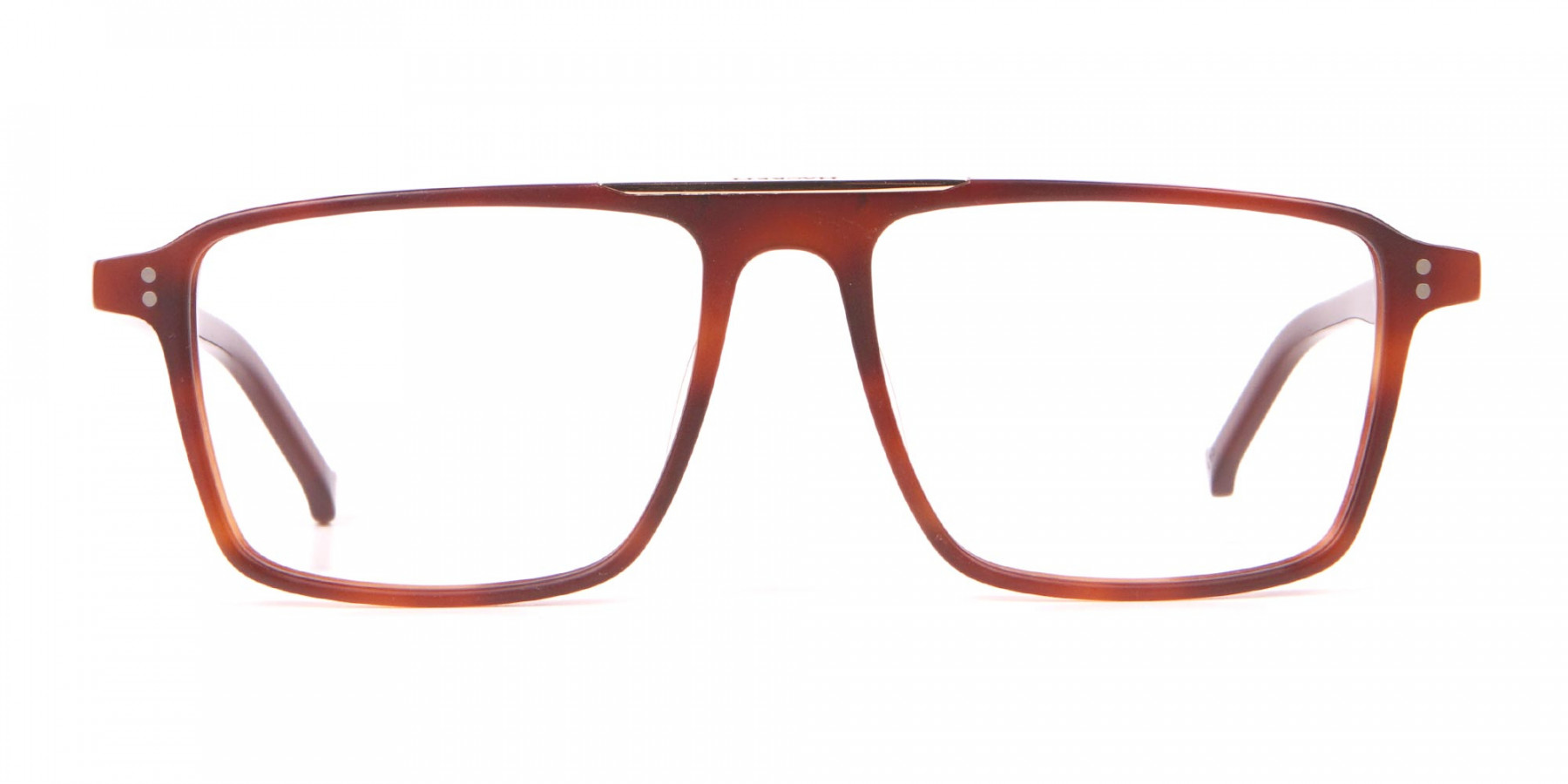 HACKETT HEB236 Wide Fit Rectangular Frame Brown Horn-1
