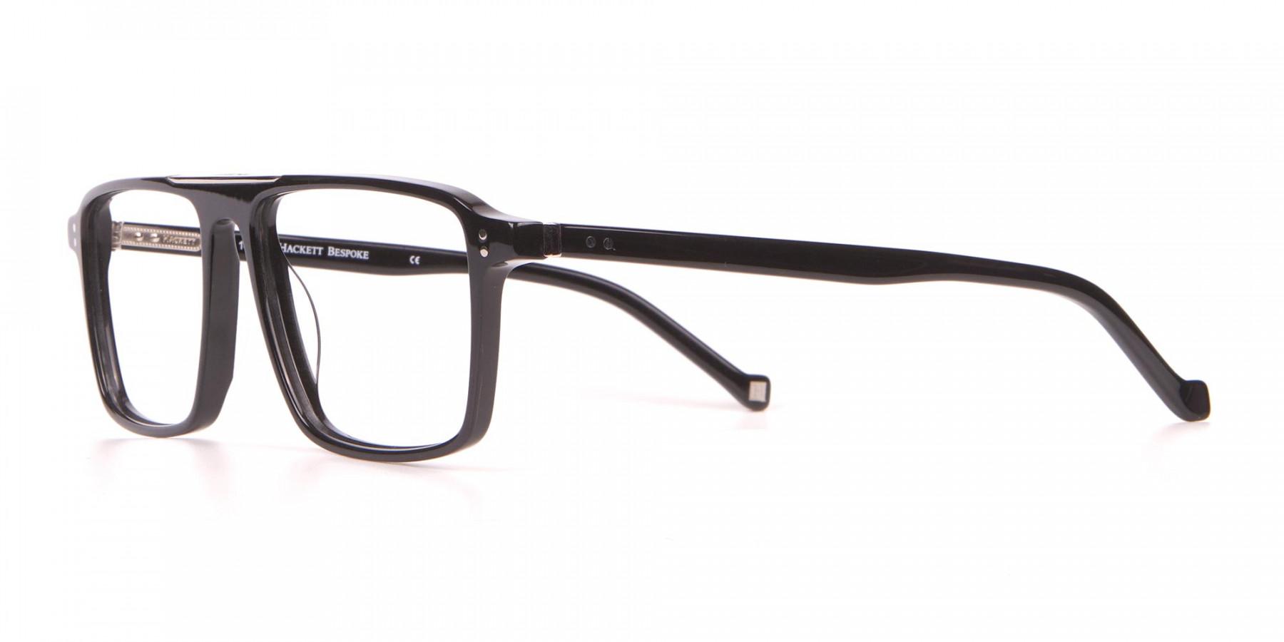HACKETT HEB236 Wide Fit Rectangular Frame Black Horn-1