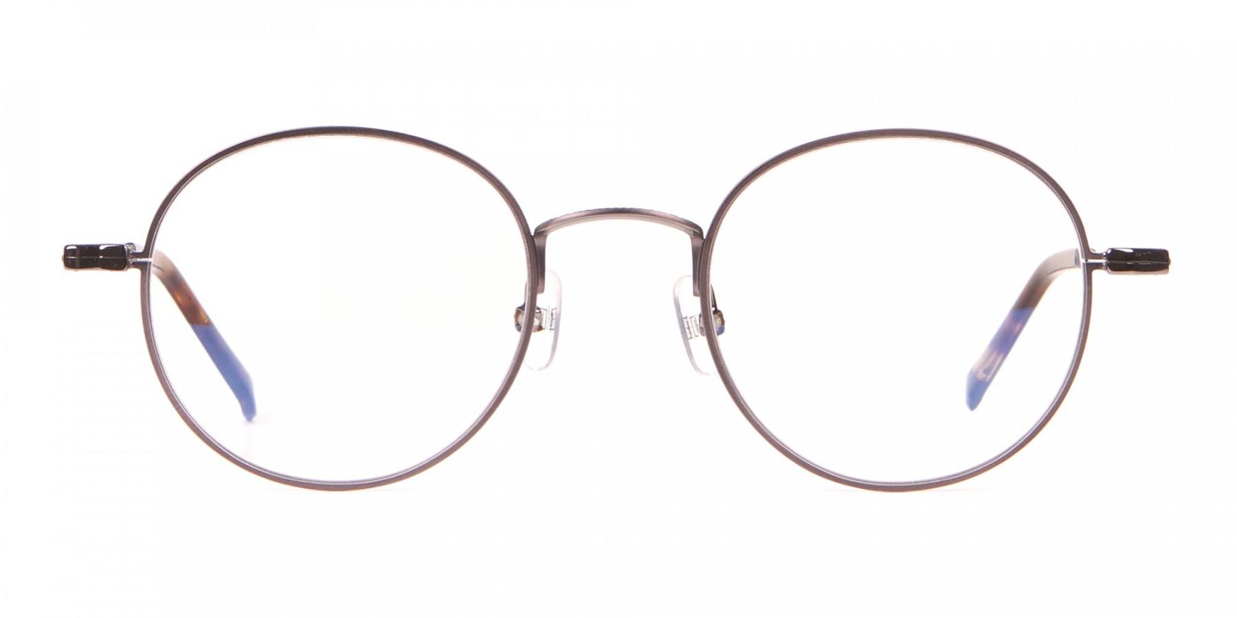 HACKETT Bespoke HEB241 Classic Round Glasses Gunmetal & Horn-1