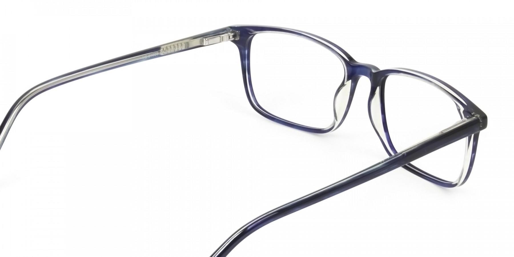 Horn-Rimmed Royal Blue Eyeglasses in Retangle - 1
