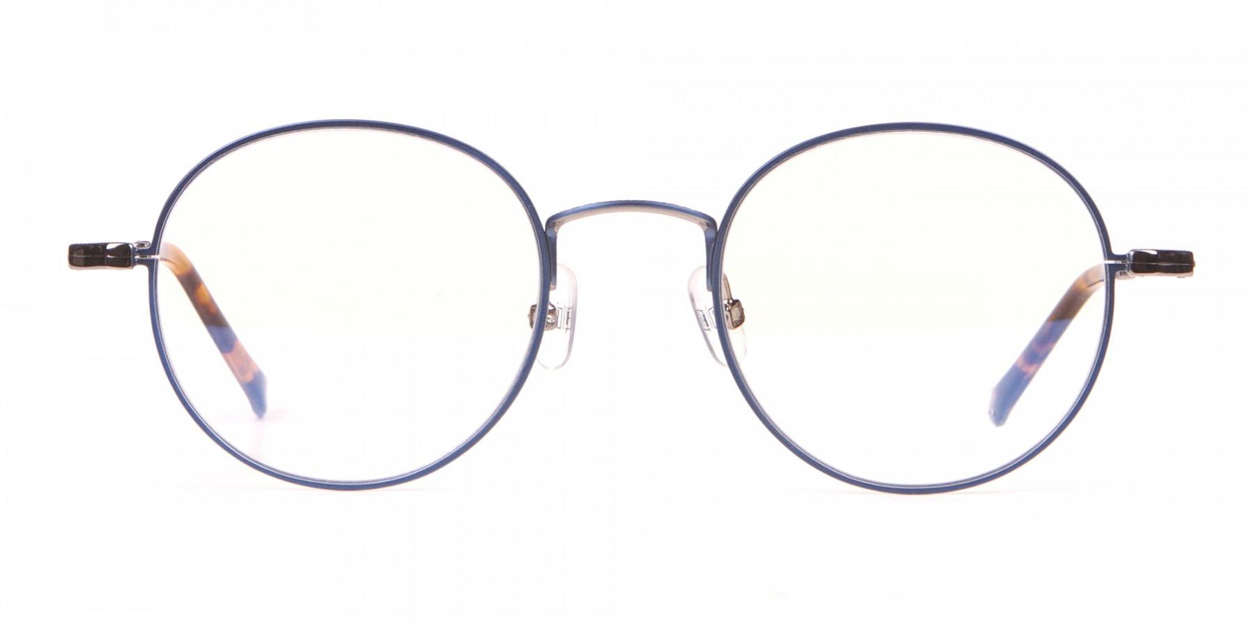 HACKETT Bespoke HEB241 Navy Blue Classic Round Glasses-1