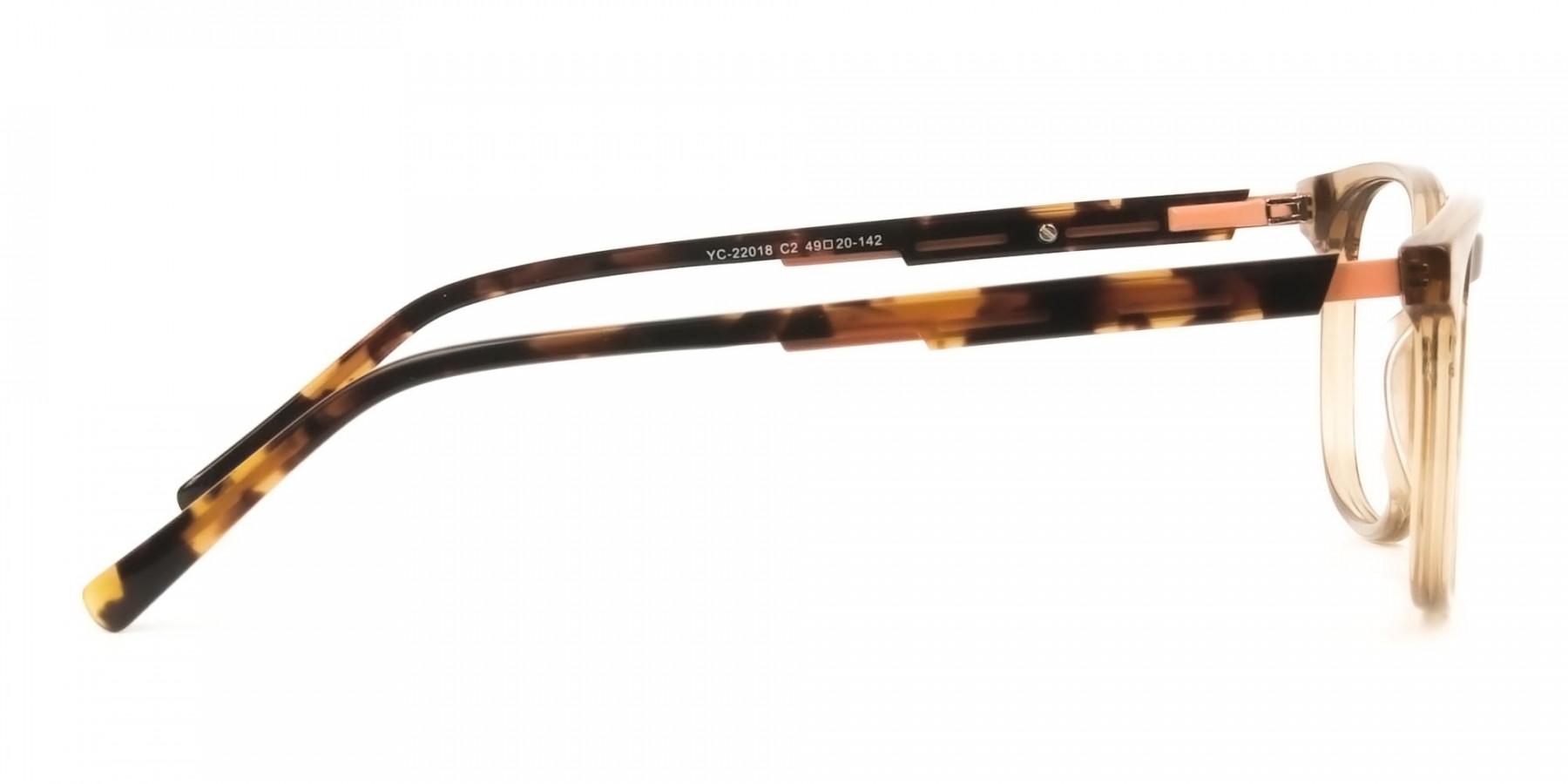 Translucent Brown Havana & Tortoise Large Square Tortoise Shell Glasses - 1