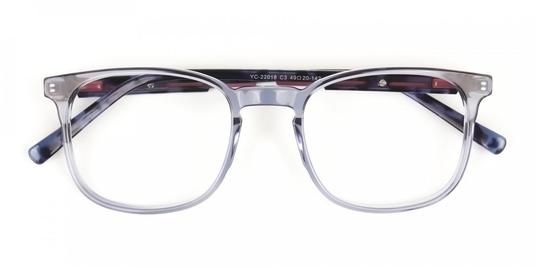 Large Translucent Ocean Blue Tortoise Square glasses - 1