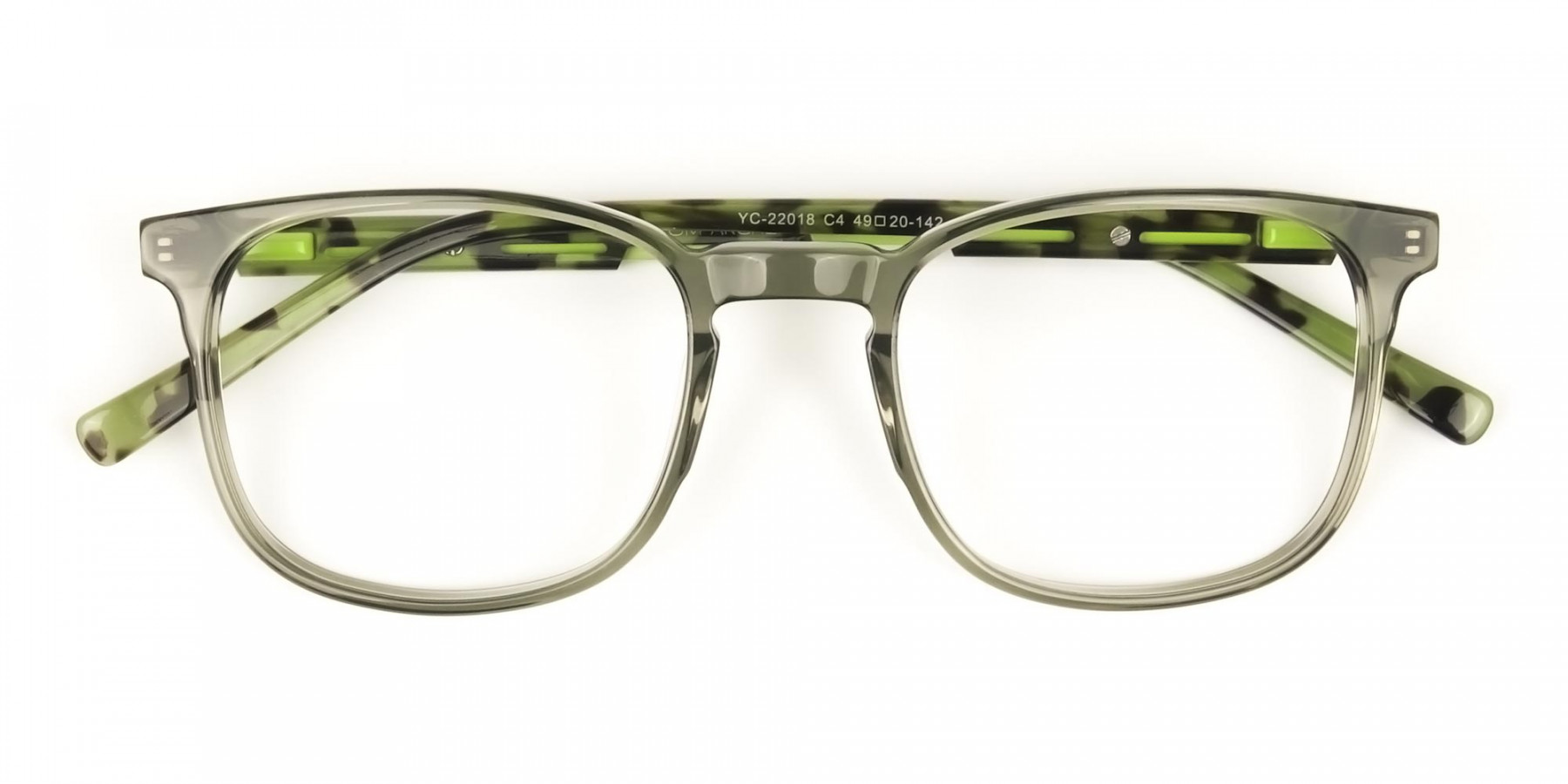 Translucent Camouflage & Olive Green Square Glasses - 1