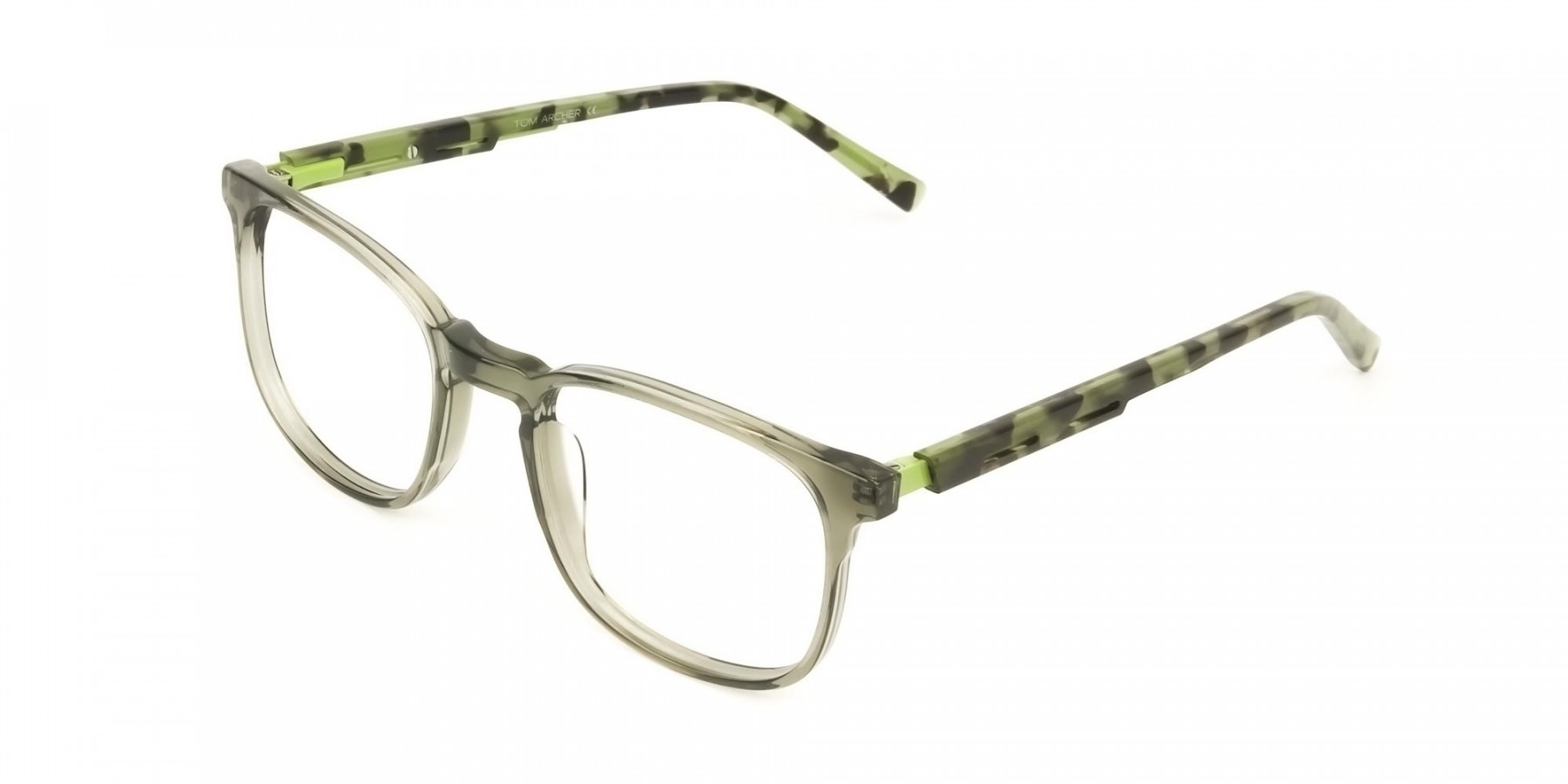 Translucent Camouflage & Olive Green Square Glasses - 1