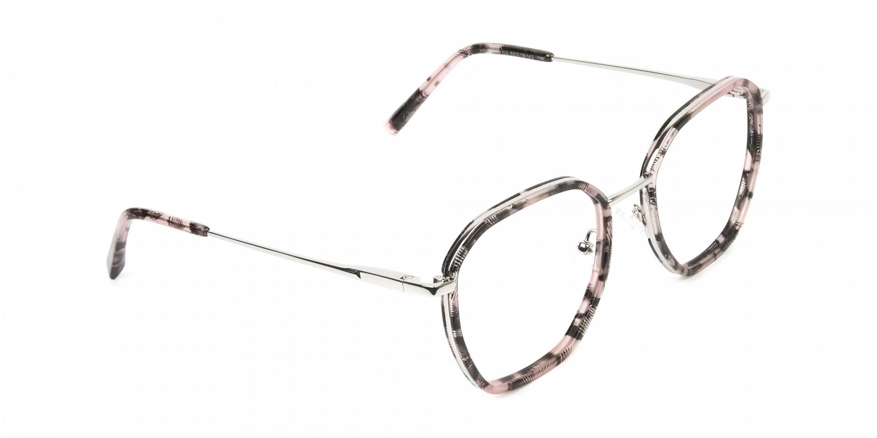 Geometric Octagon Nude Pink Tortoise Glasses - 1