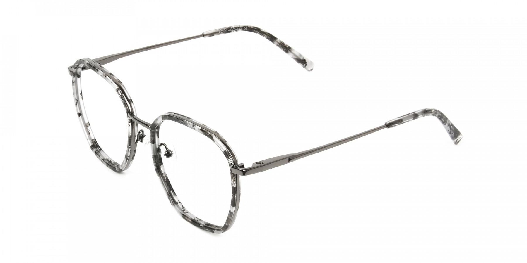 Gunmetal Grey Tortoiseshell Octagon Glasses - 1
