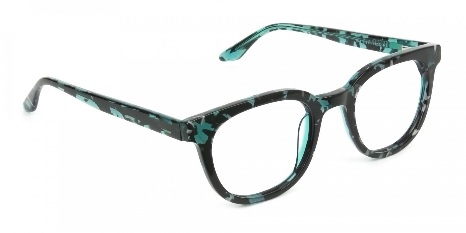Hipster Tortoise Turquoise Green Wayfarer Frame Glasses - 1
