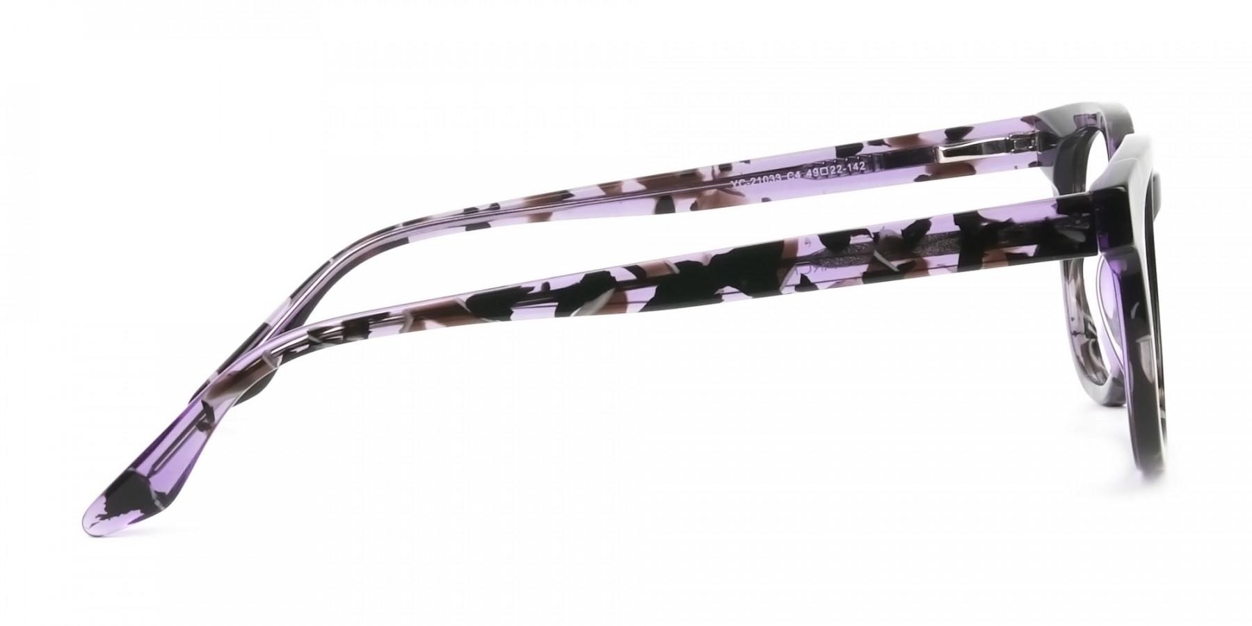 Hipster Thick Frame Tortoise Pastel Purple Glasses For Women - 1