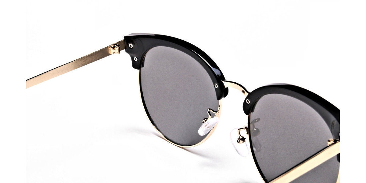 Gold Browline Sunglasses, Gold Eyeglasses -2