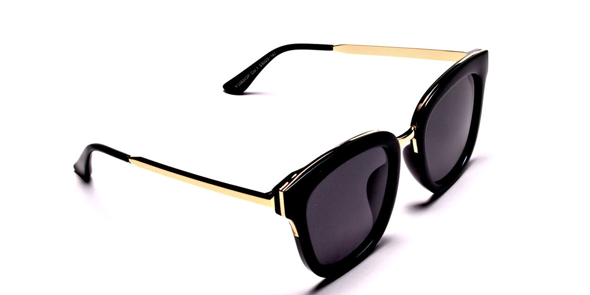 Black and Gold Simple Sunglasses - 2