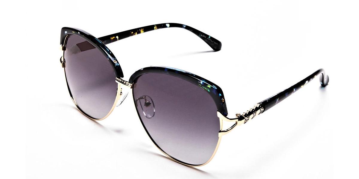 Emerald & Gold Oversized Sunglasses - 2