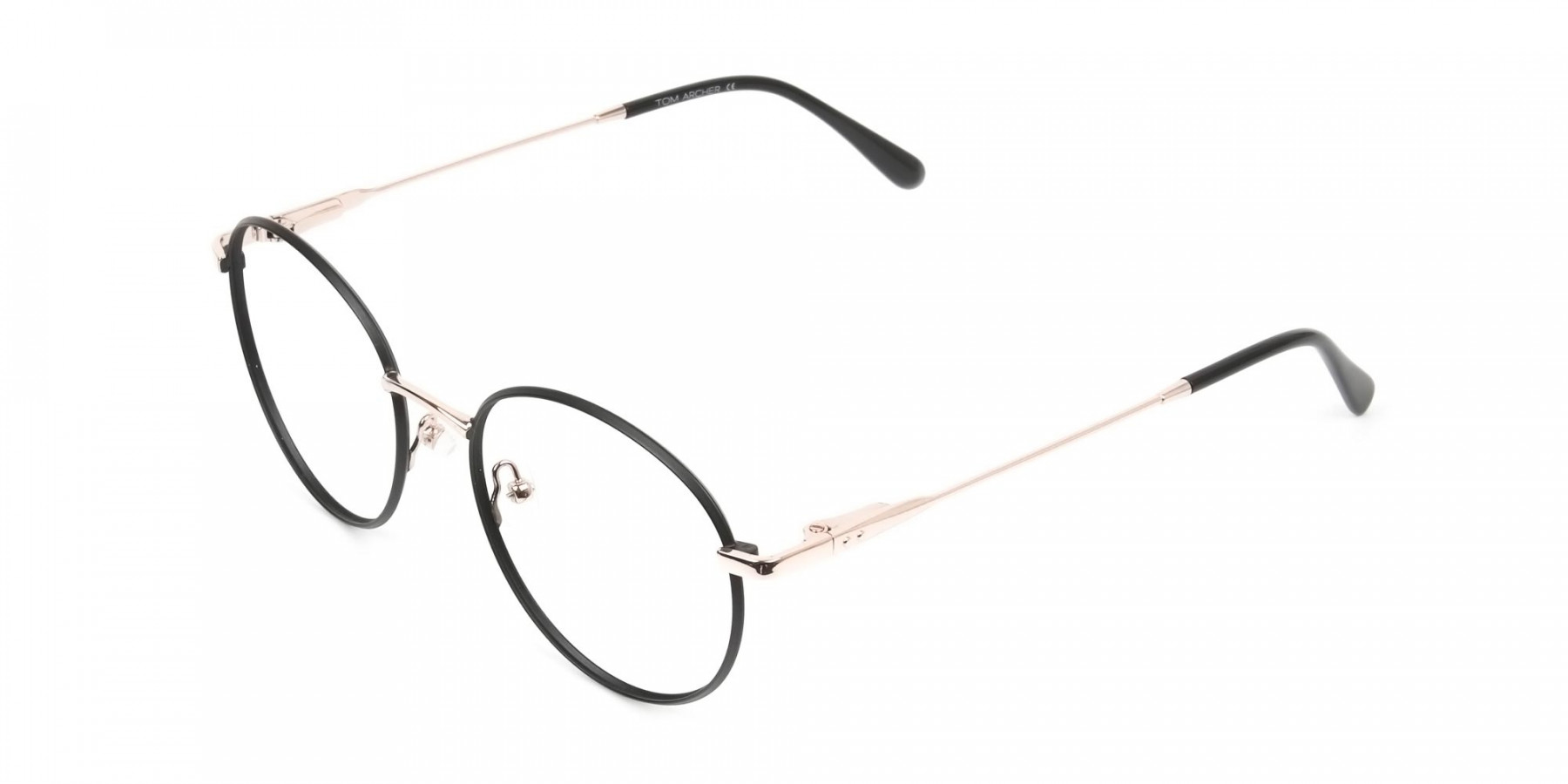 Black and Gold Round Wire Glasses Frames Men Women - 1