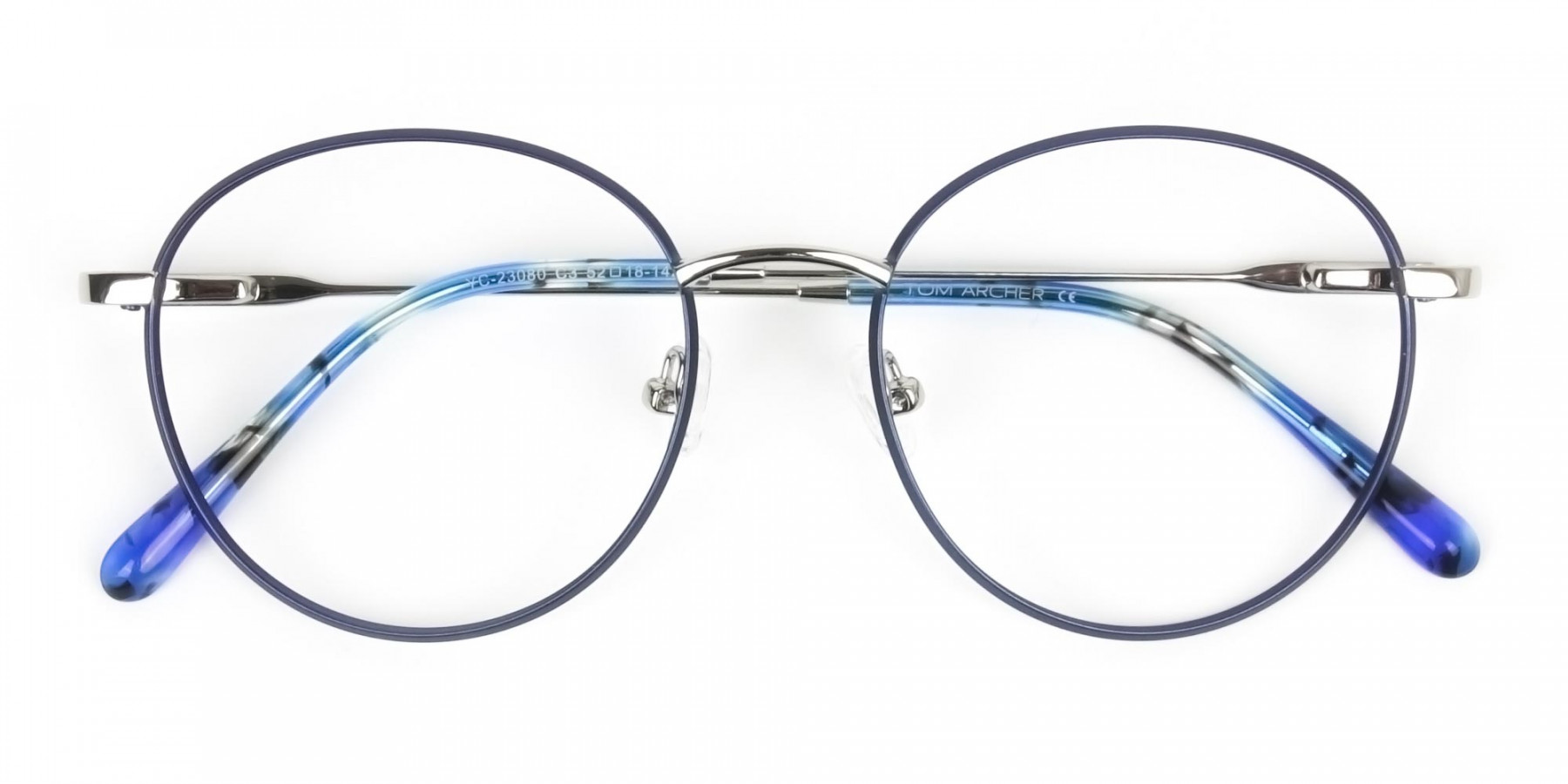Silver Navy Blue Circle Wire Frame Glasses - 1