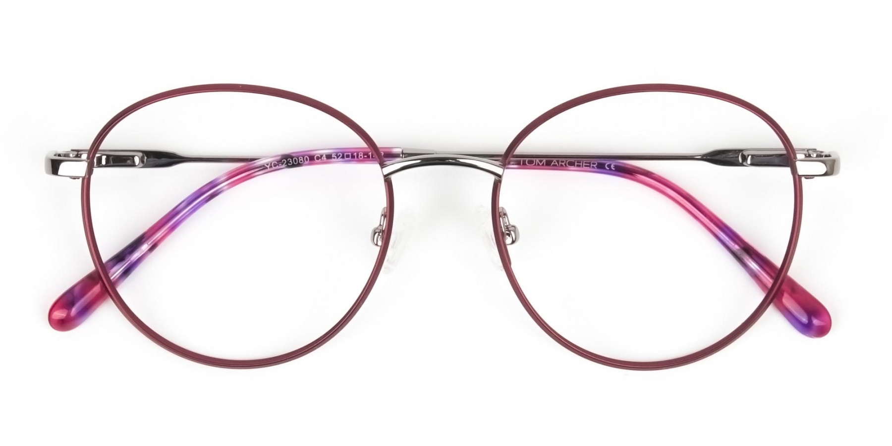Silver Red Wire Frame Glasses in Round Men Women- 1