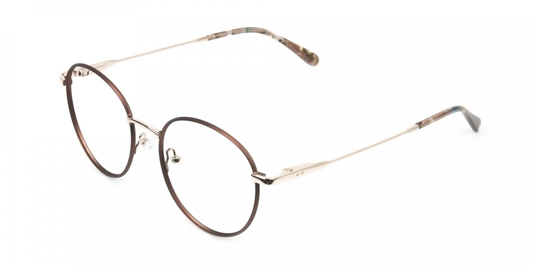 Circular Wire Frame Glasses Gold & Brown Men Women - 1