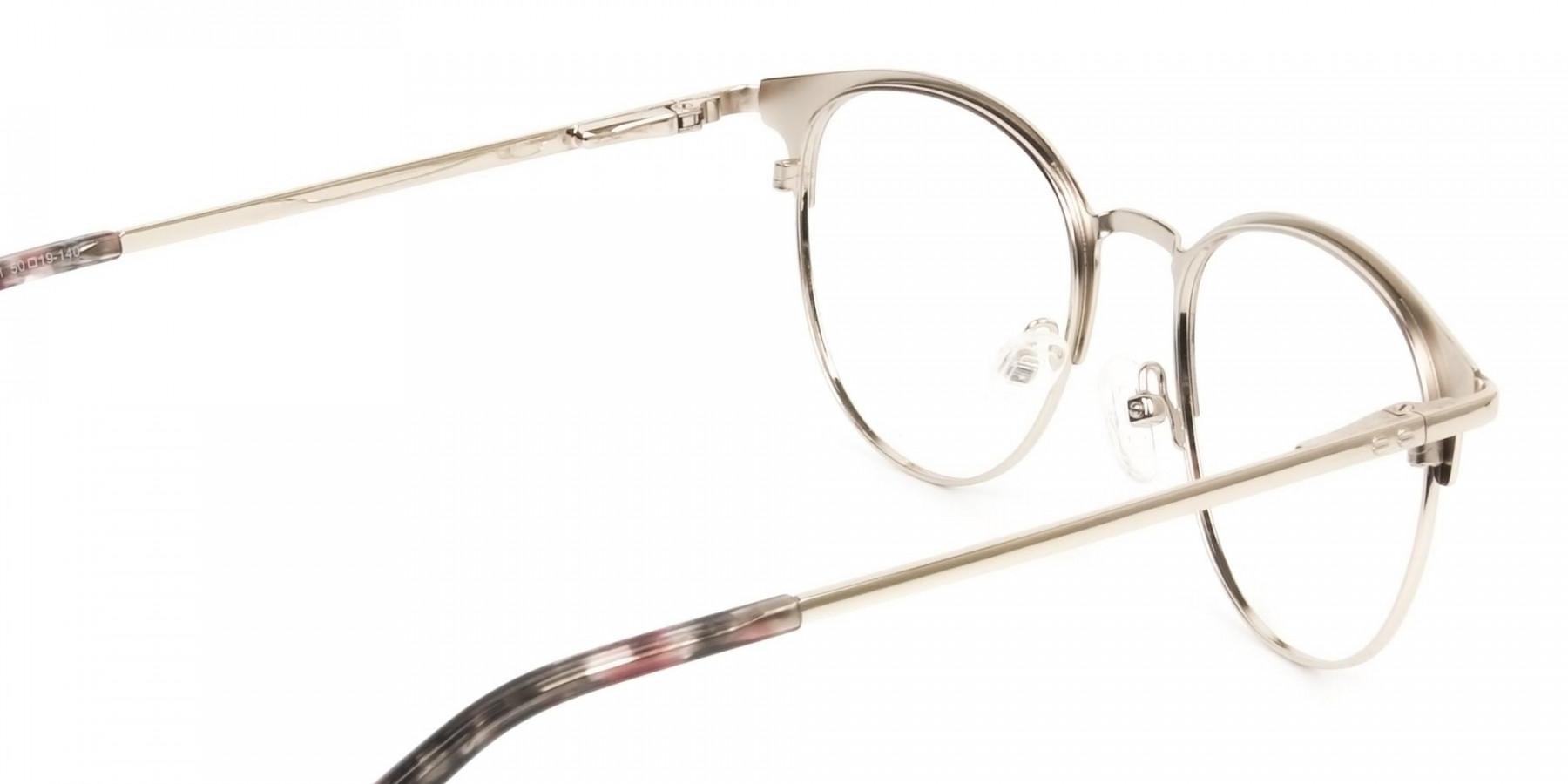 Keyhole Burgundy Browline Glasses in Round Men Women - 1