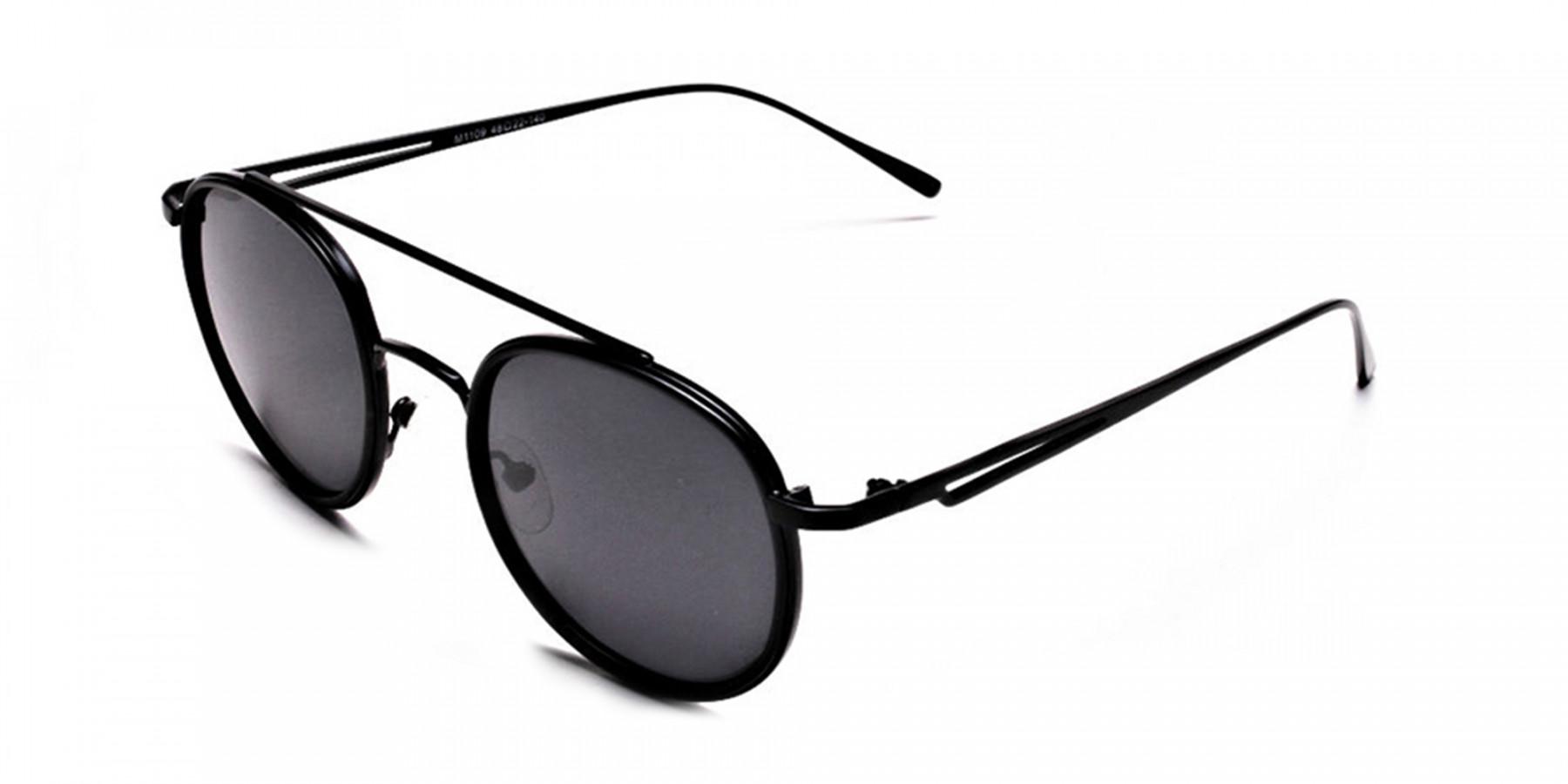 Black Round Metal Sunglasses - 2