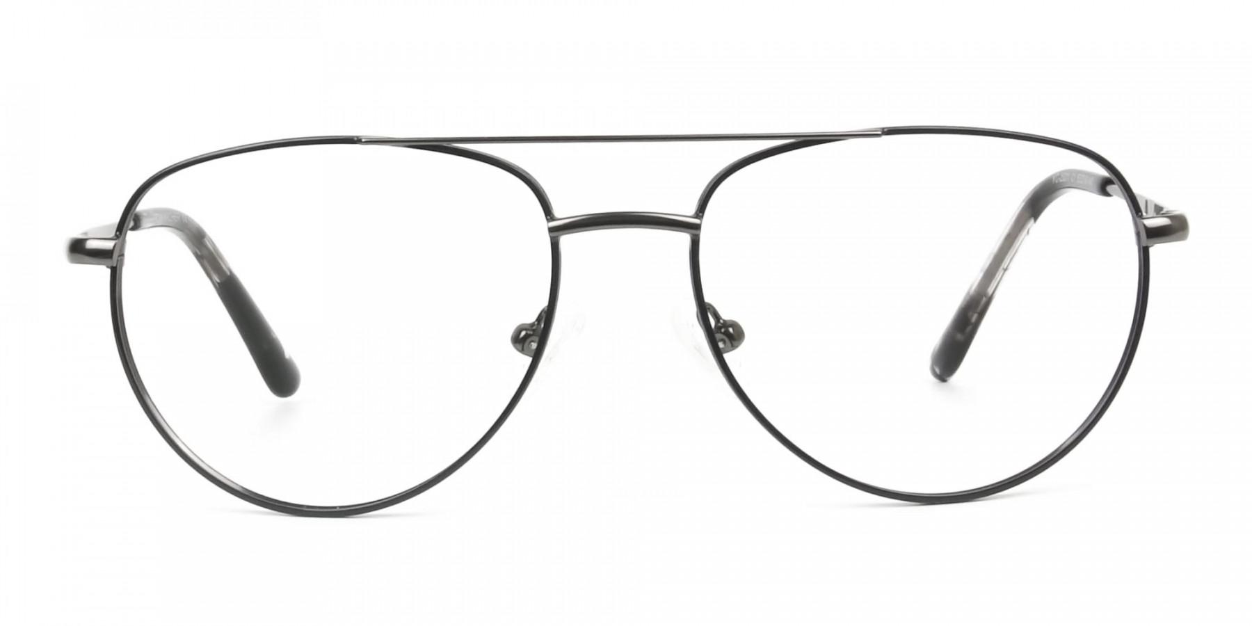 Black and Dark Gunmetal Aviator Glasses - 1