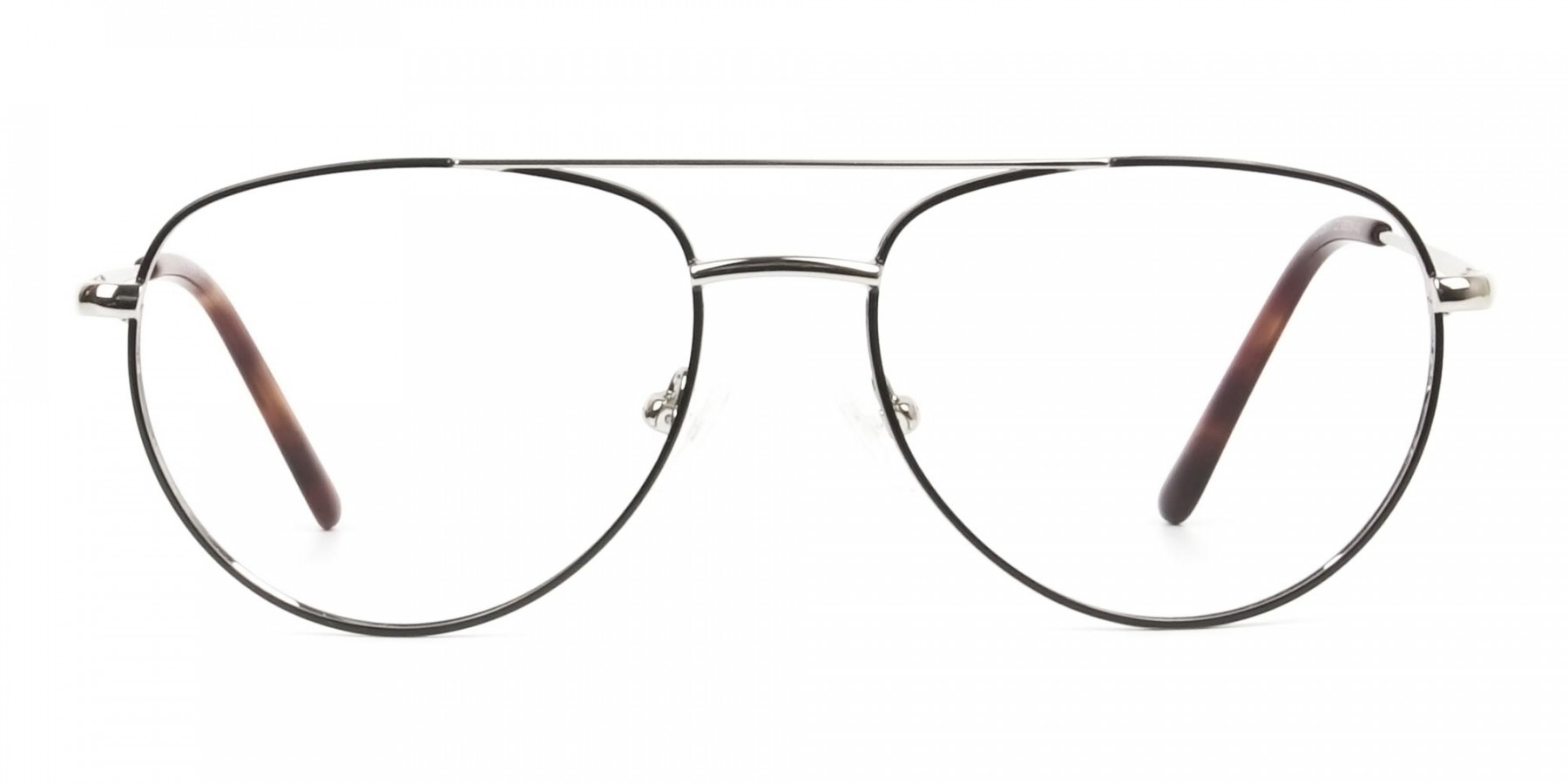Black & Silver Aviator Glasses in Metal - 1