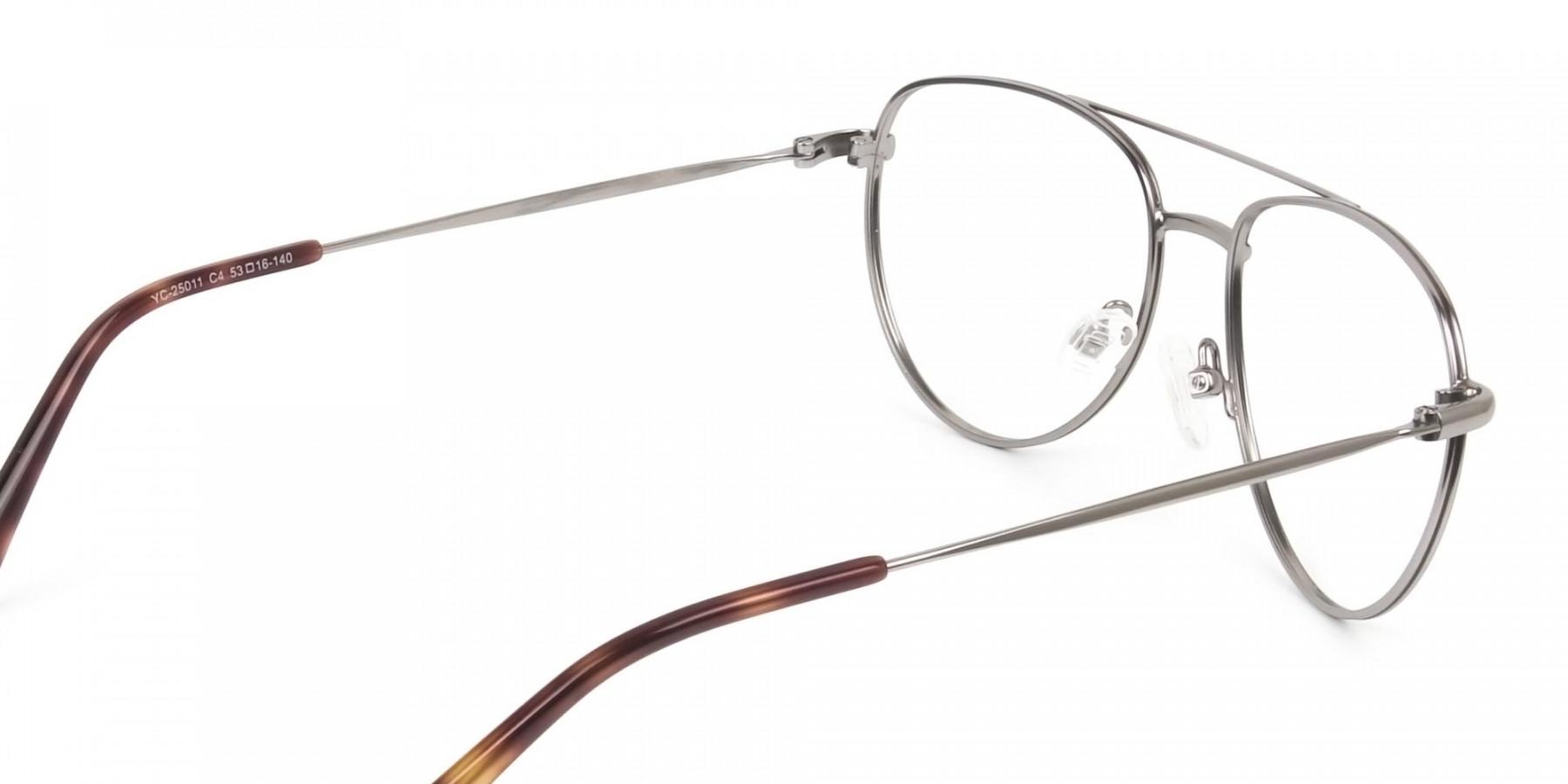 Brown Gunmetal Aviator Glasses - 1