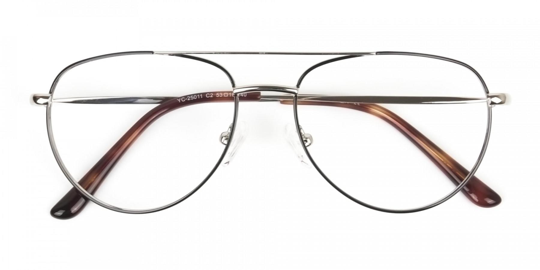 Black & Silver Aviator Glasses in Metal - 1